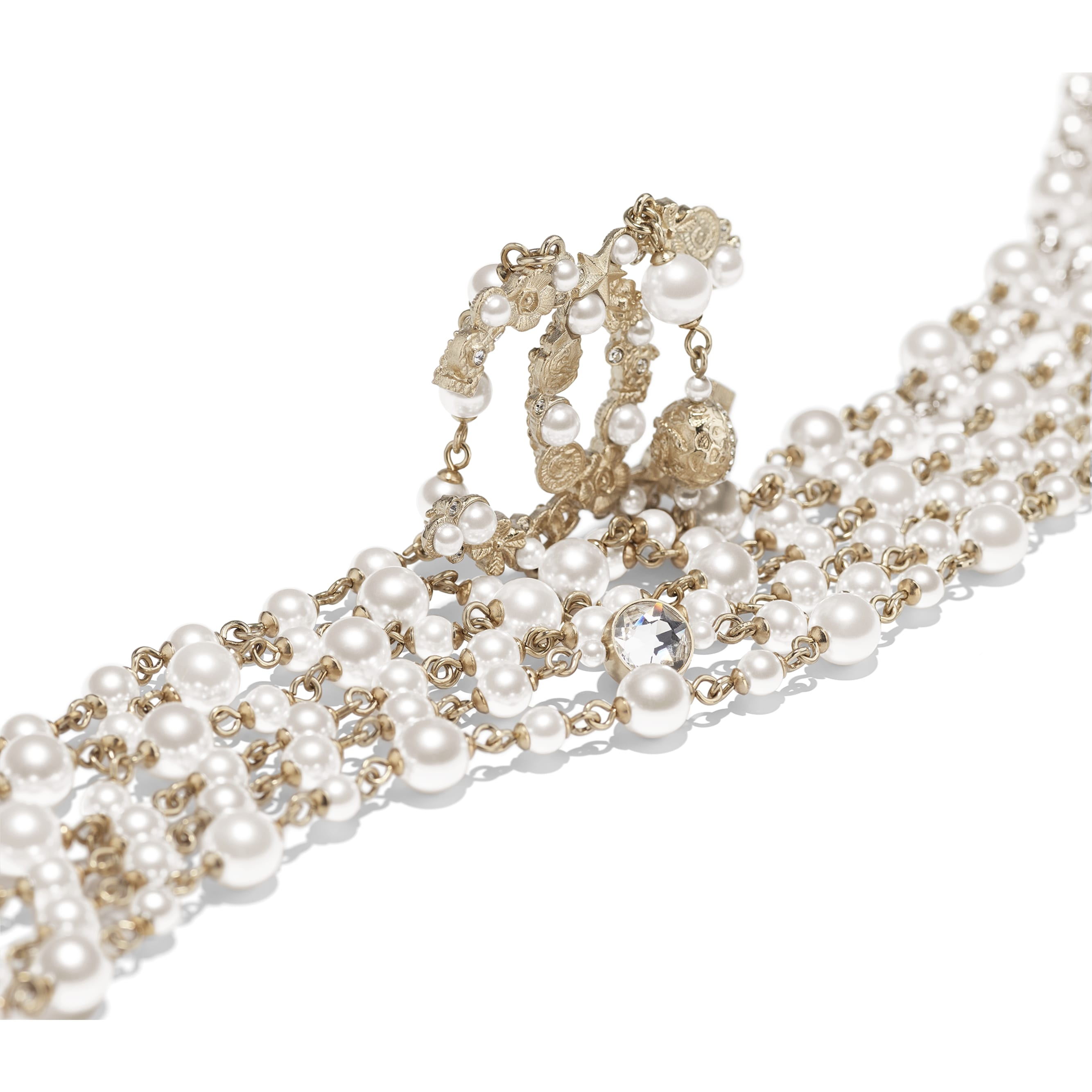 Long Necklace - Gold, Pearly White & Crystal - Metal, Glass Pearls, Imitation Pearls & Strass - CHANEL - Alternative view - see standard sized version