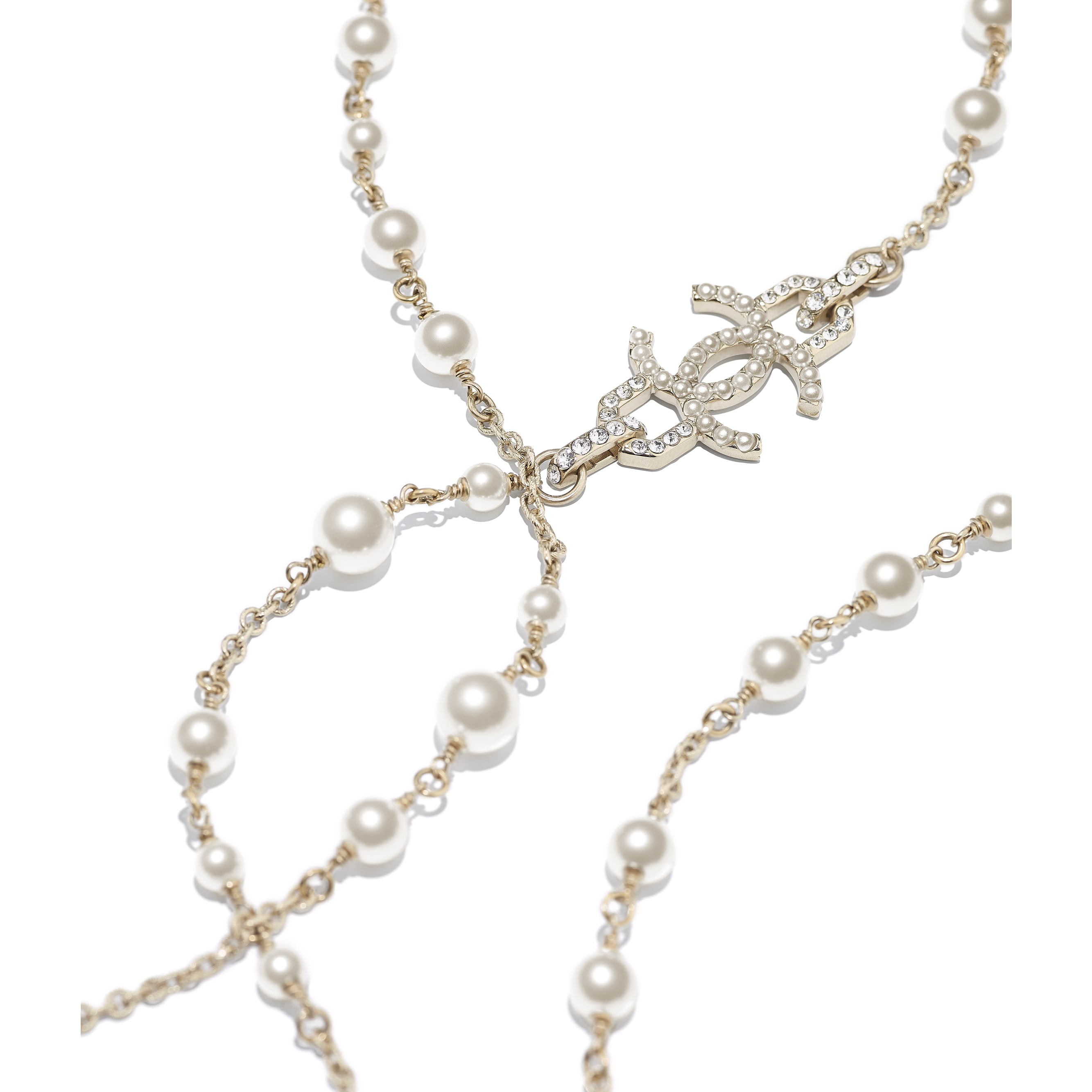 Long Necklace - Gold, Pearly White & Crystal - Metal, Glass Pearls, Imitation Pearls & Diamanté - Alternative view - see standard sized version