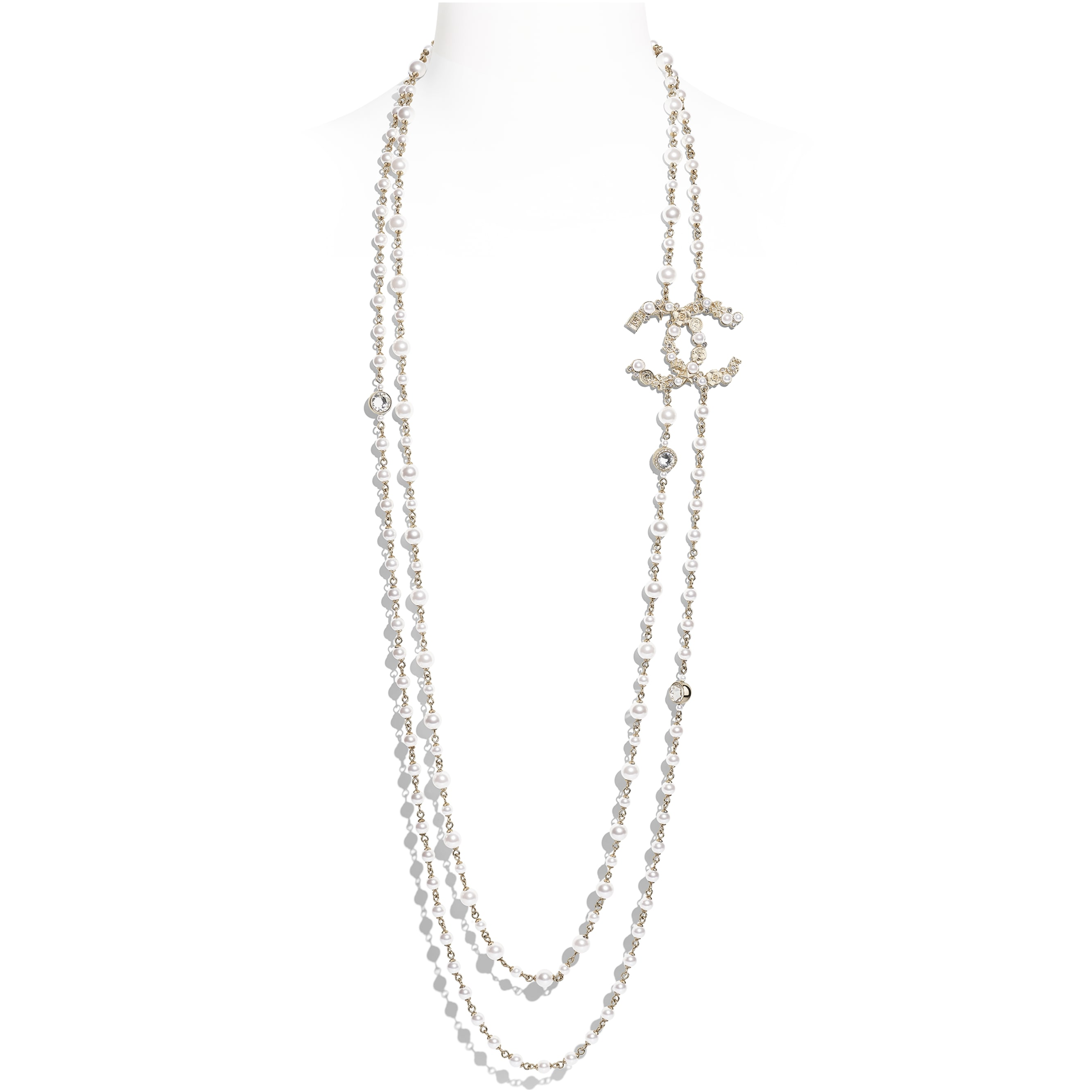 Long Necklace - Gold, Pearly White & Crystal - Metal, Glass Pearls, Imitation Pearls & Strass - CHANEL - Default view - see standard sized version