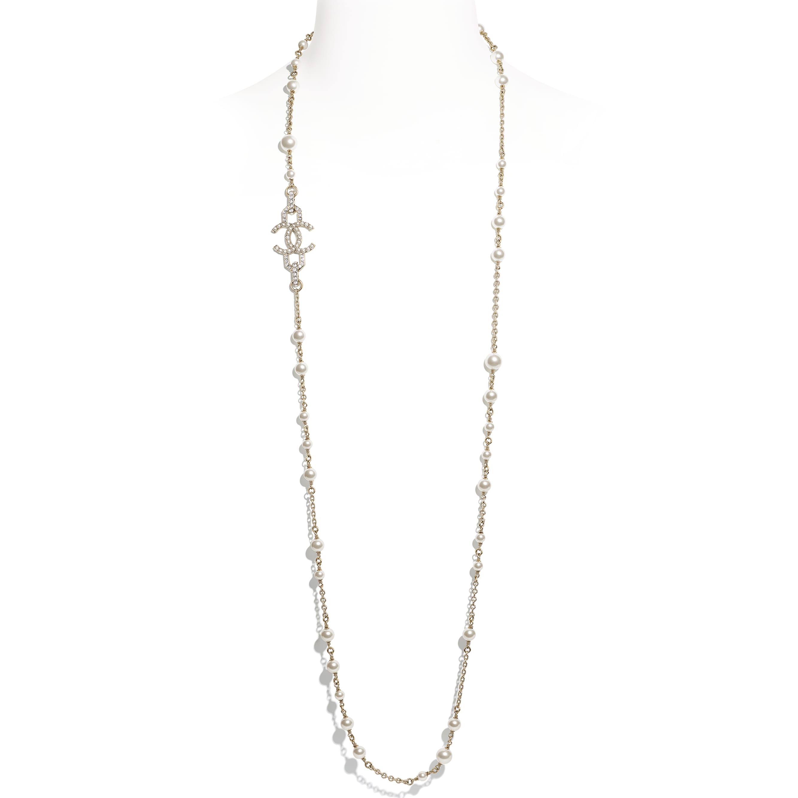 Long Necklace - Gold, Pearly White & Crystal - Metal, Glass Pearls, Imitation Pearls & Diamanté - Default view - see standard sized version