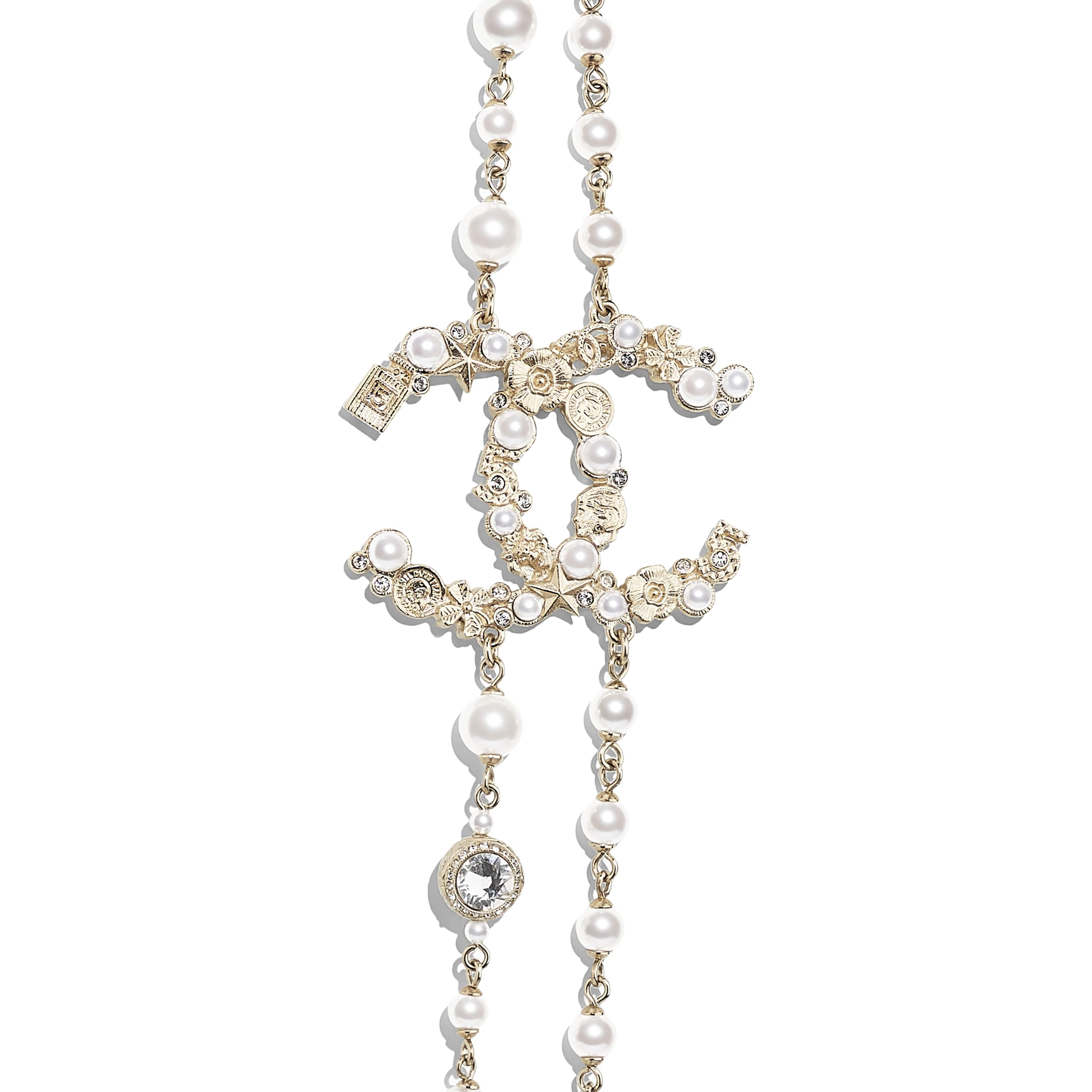 Long Necklace - Gold, Pearly White & Crystal - Metal, Glass Pearls, Imitation Pearls & Strass - CHANEL - Other view - see standard sized version
