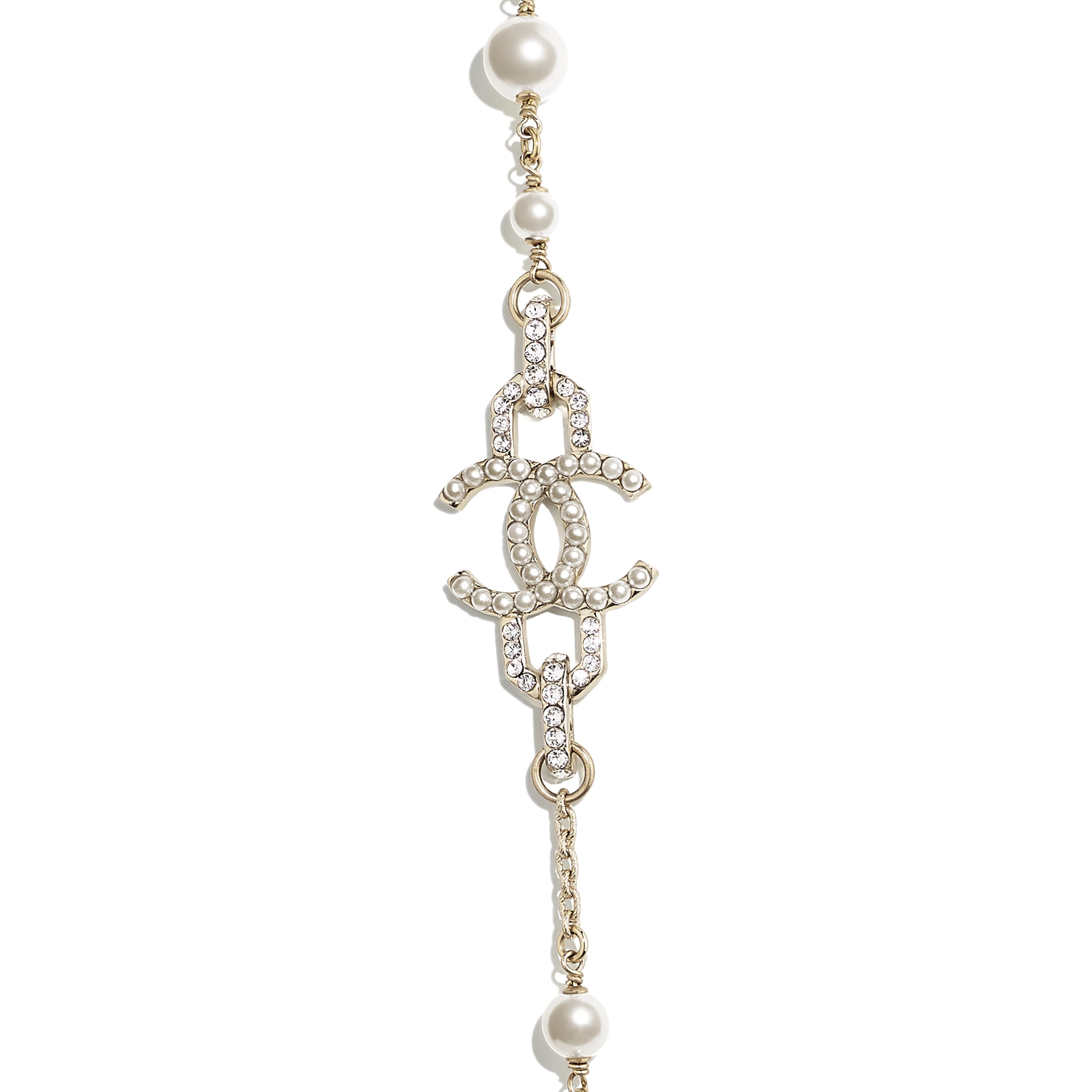 Long Necklace - Gold, Pearly White & Crystal - Metal, Glass Pearls, Imitation Pearls & Diamanté - Other view - see standard sized version