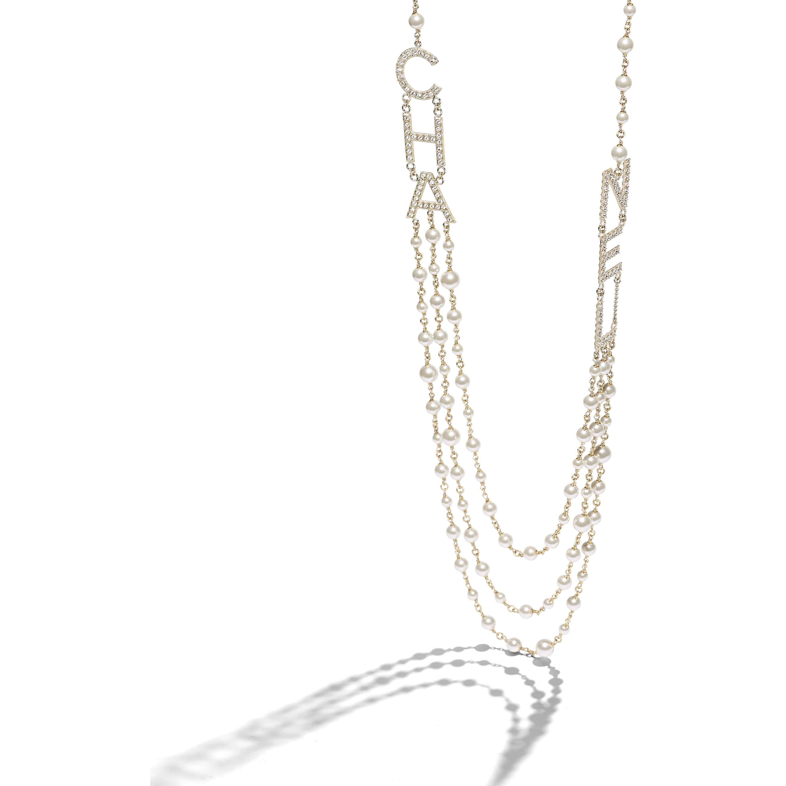 Long Necklace - Gold, Pearly White & Crystal - Metal, Glass Pearls & Strass - Alternative view - see standard sized version