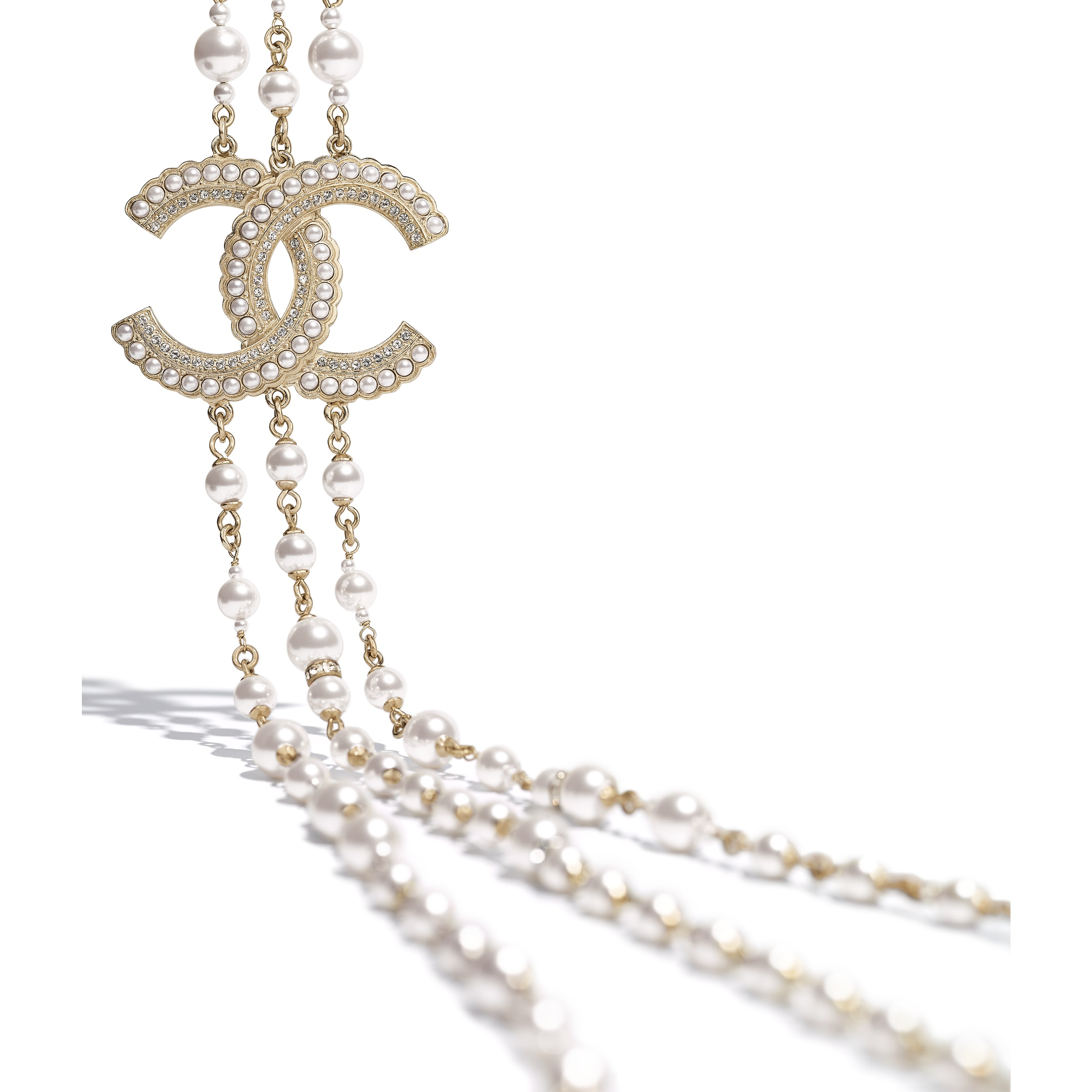 Long Necklace - Gold, Pearly White & Crystal - Metal, Glass Pearls & Diamantés - Alternative view - see standard sized version