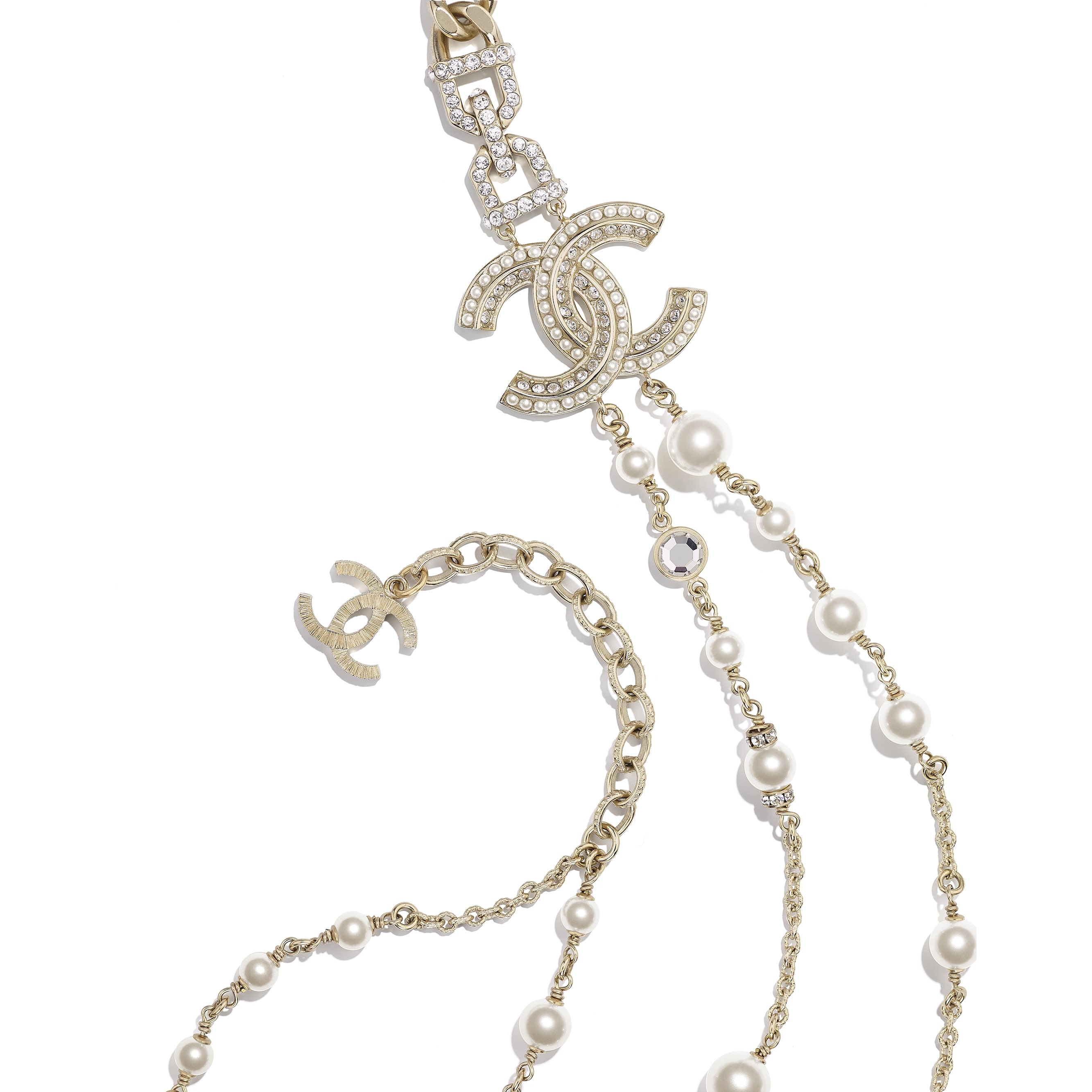 Long Necklace - Gold, Pearly White & Crystal - Metal, Glass Pearls & Diamantés - CHANEL - Alternative view - see standard sized version