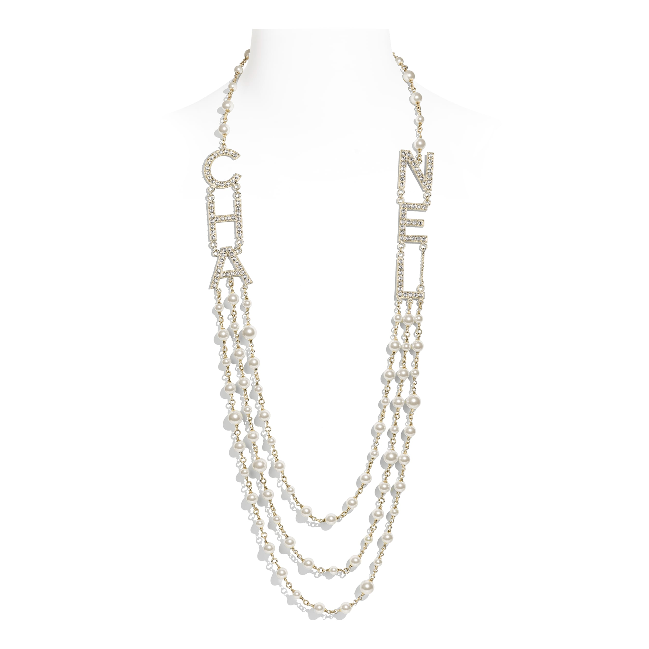 Long Necklace - Gold, Pearly White & Crystal - Metal, Glass Pearls & Strass - Default view - see standard sized version
