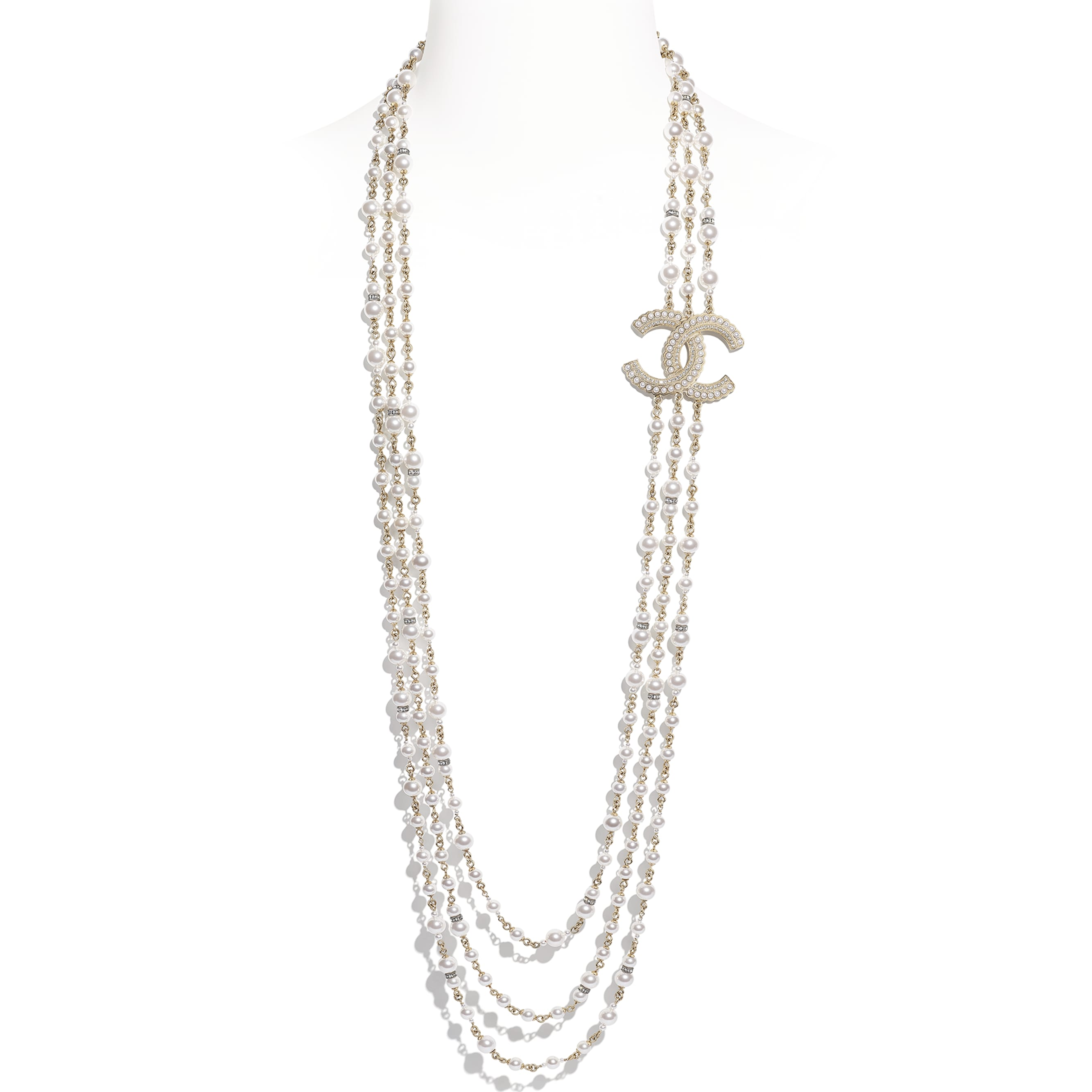 Long Necklace - Gold, Pearly White & Crystal - Metal, Glass Pearls & Diamantés - Default view - see standard sized version
