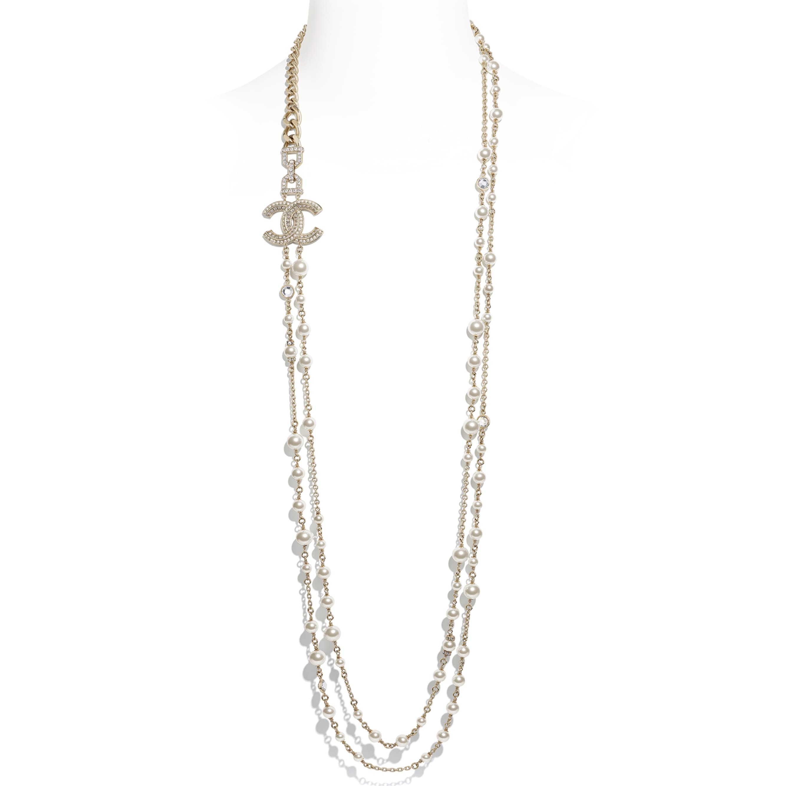 Long Necklace - Gold, Pearly White & Crystal - Metal, Glass Pearls & Strass - CHANEL - Default view - see standard sized version