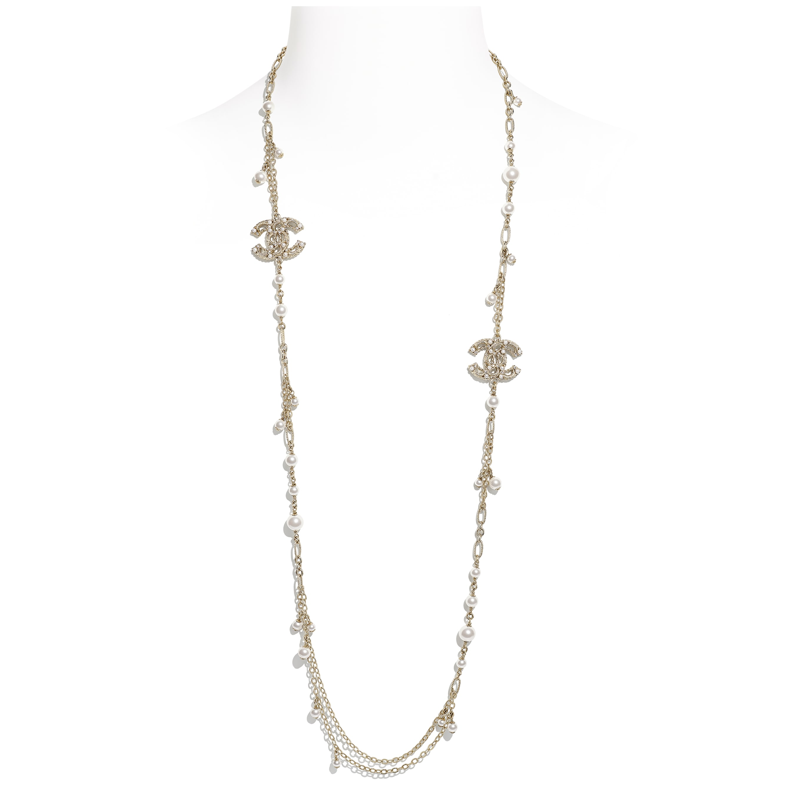 Long Necklace - Gold, Pearly White & Crystal - Metal, Glass Pearls & Diamantés - CHANEL - Default view - see standard sized version