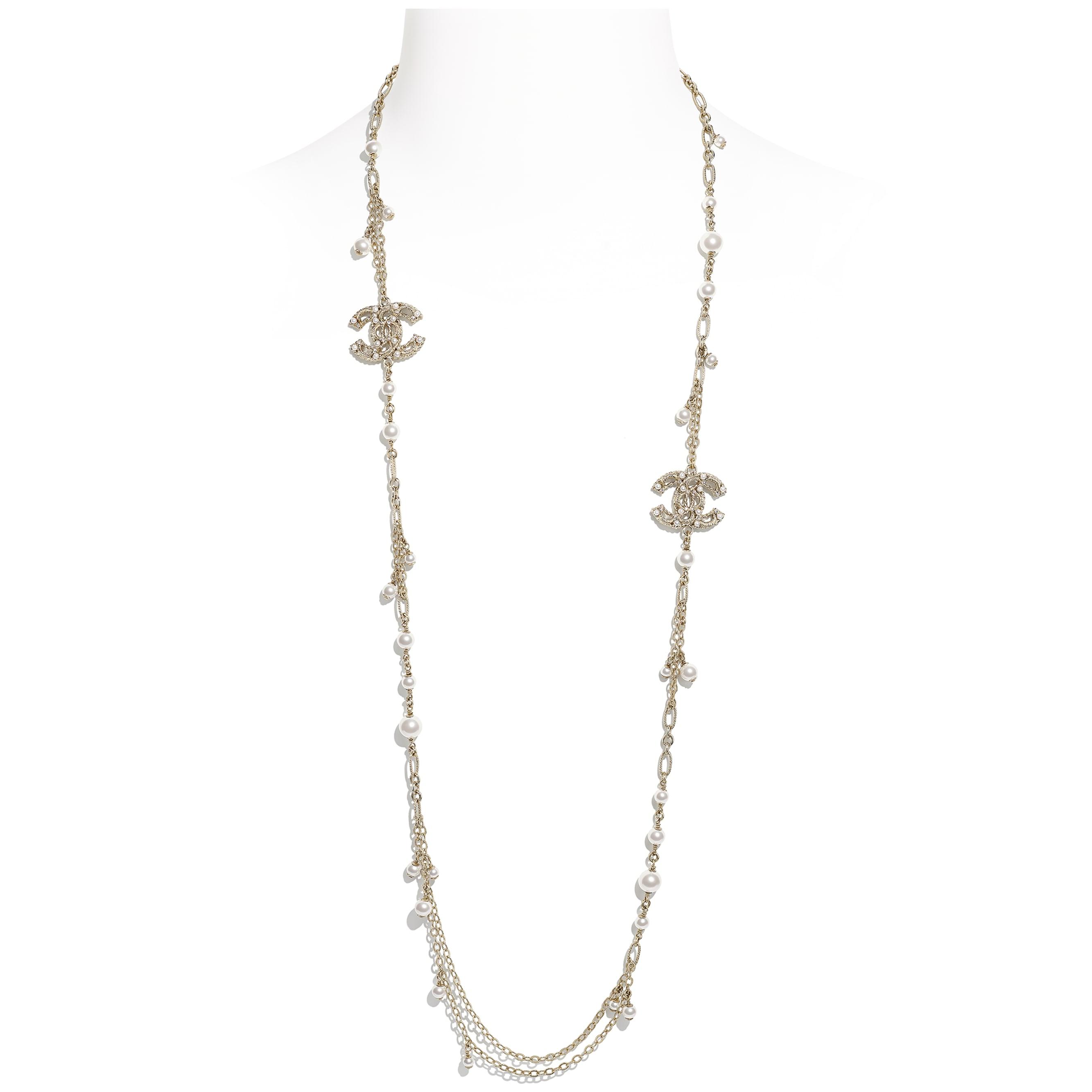 長項鏈 - 金、珍珠白與水晶 - 金屬、琉璃珠與水鑽 - CHANEL - 預設視圖 - 查看標準尺寸版本