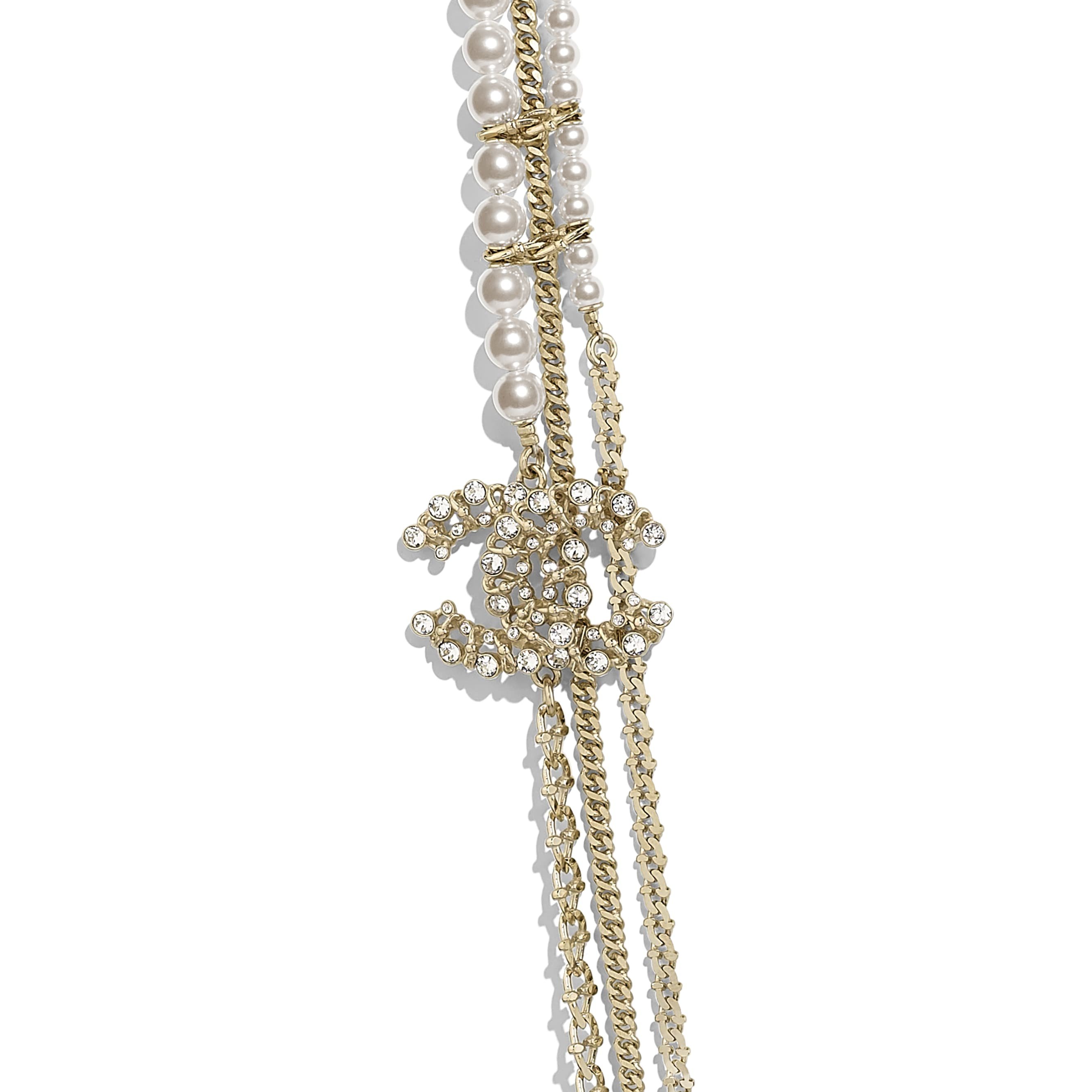 Long Necklace - Gold, Pearly White & Crystal - Metal, Glass Pearls & Diamantés - Other view - see standard sized version