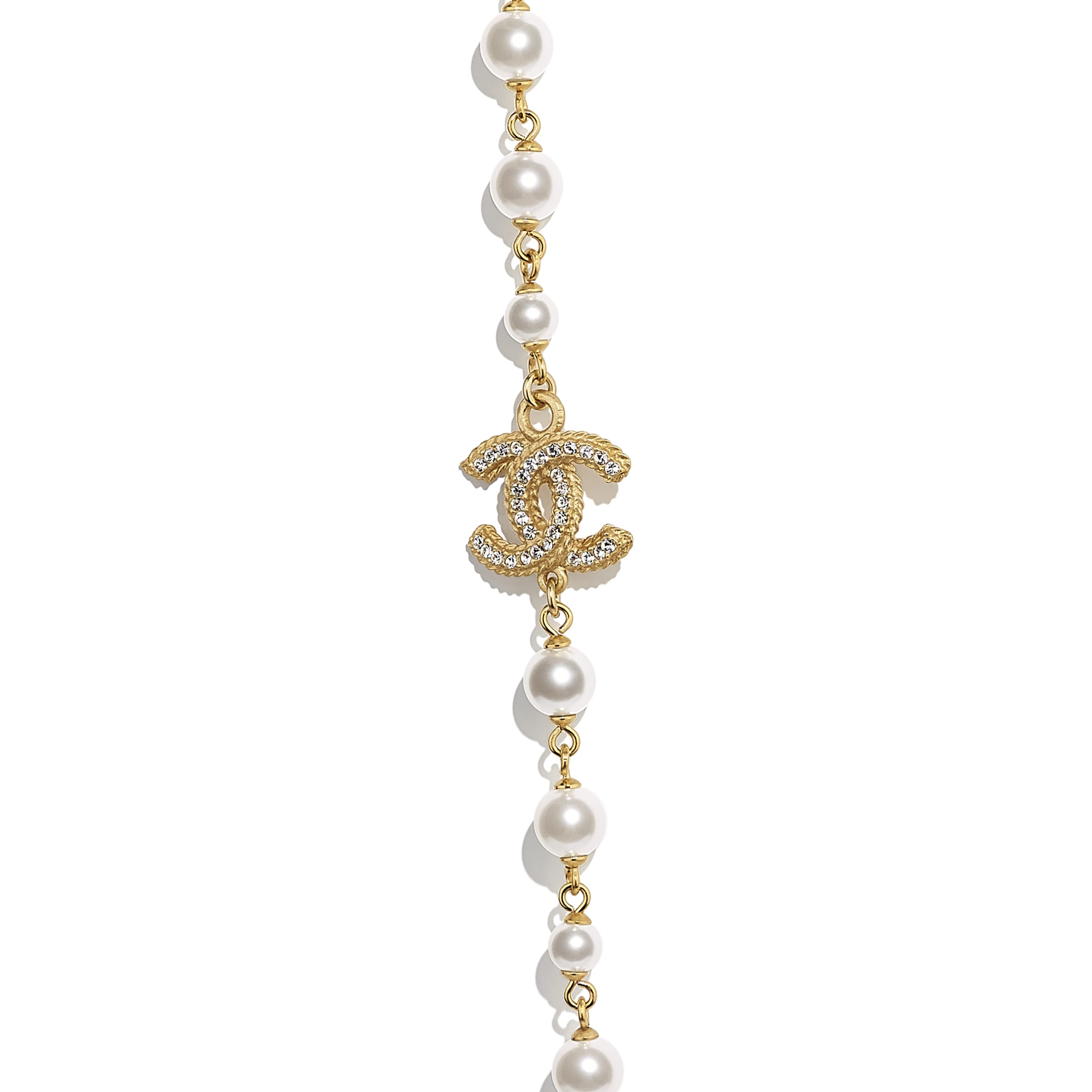 Long Necklace - Gold, Pearly White & Crystal - Metal, Glass Pearls & Diamantés - CHANEL - Other view - see standard sized version