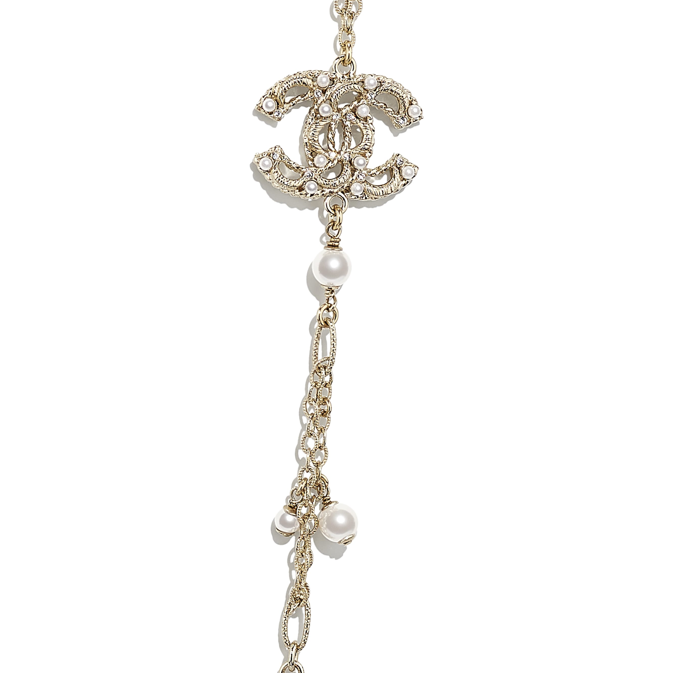 Sautoir - Doré, blanc nacré & cristal - Métal, perles de verre & strass - CHANEL - Autre vue - voir la version taille standard