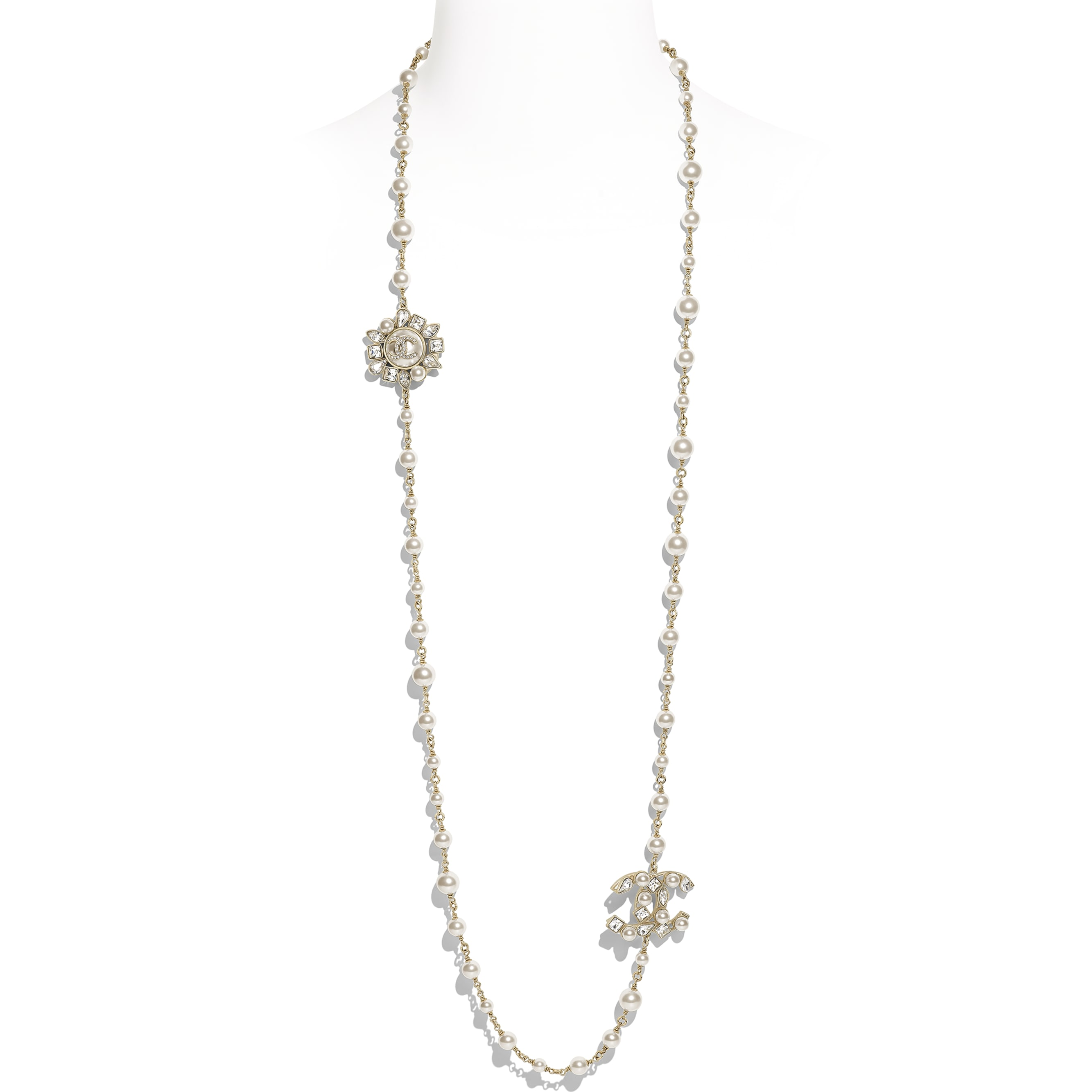 Long Necklace - Gold, Pearly White & Crystal - Metal, Glass Pearls, Diamanté & Resin - Default view - see standard sized version