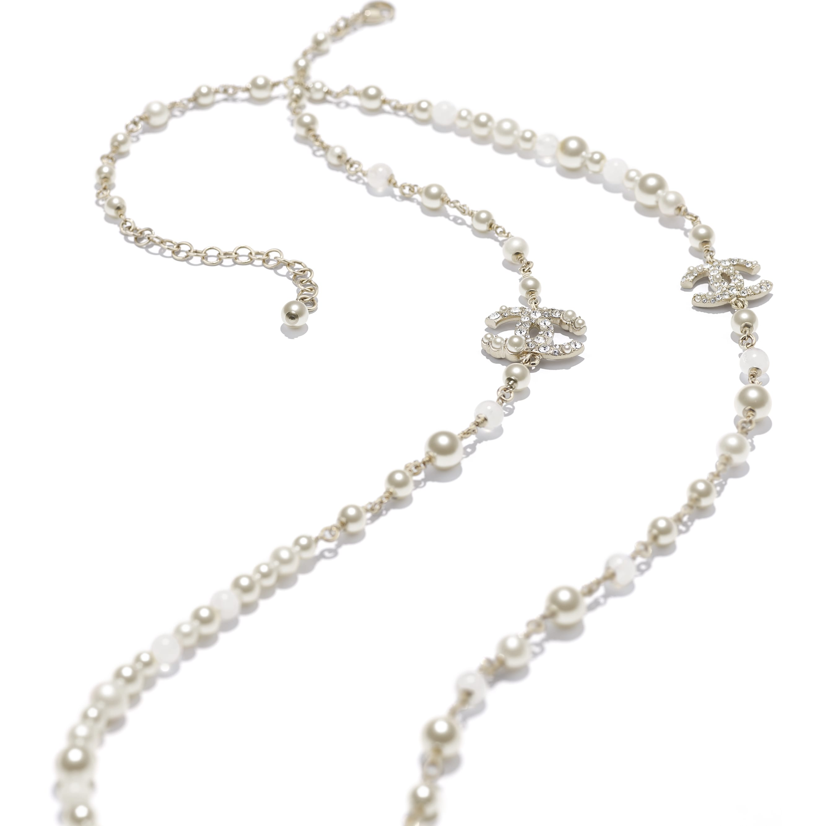 Long Necklace - Gold, Pearly White & Crystal - Metal, Natural Stones, Cultured Freshwater Pearls, Glass Pearls & Diamanté  - CHANEL - Alternative view - see standard sized version