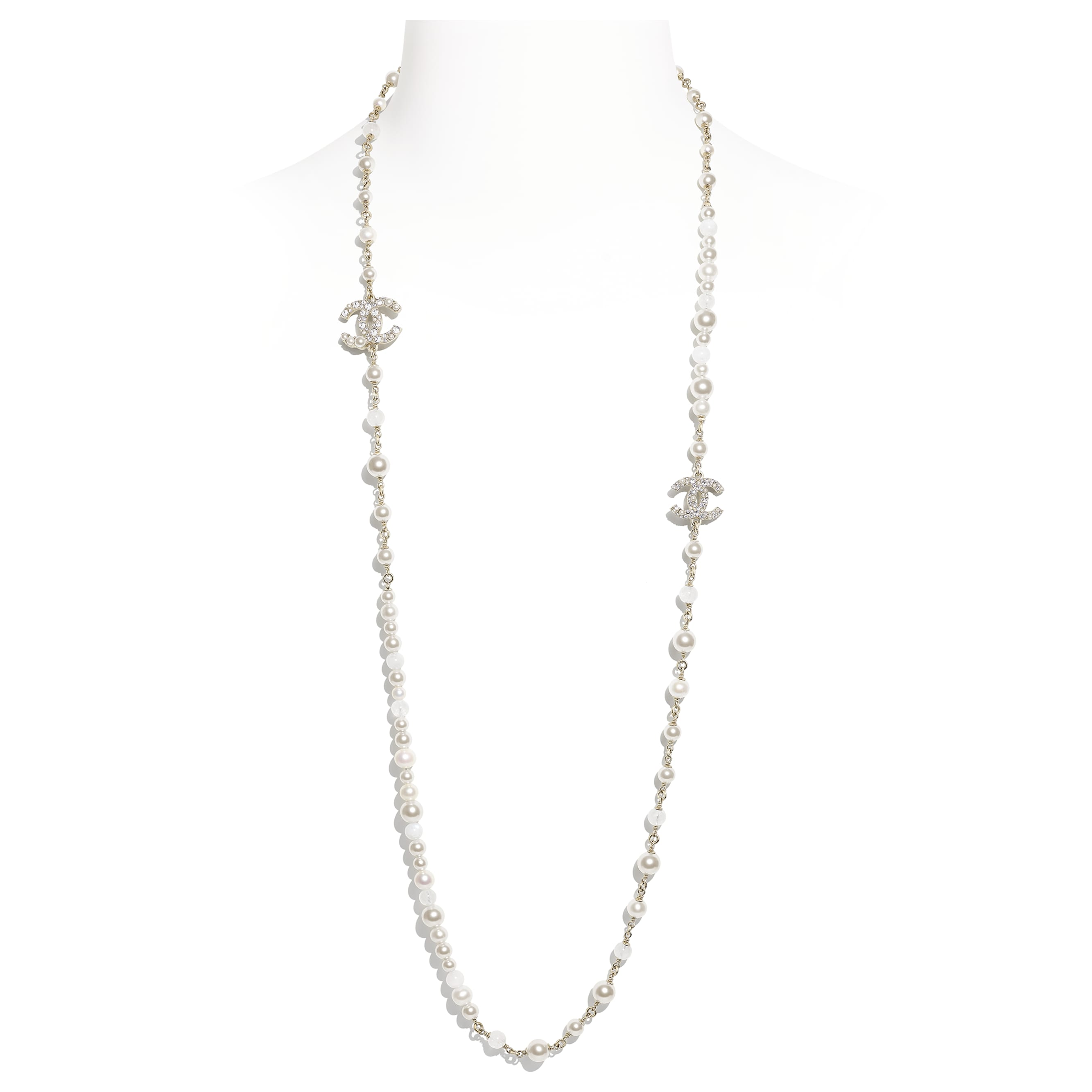 Long Necklace - Gold, Pearly White & Crystal - Metal, Natural Stones, Cultured Freshwater Pearls, Glass Pearls & Diamanté  - CHANEL - Default view - see standard sized version