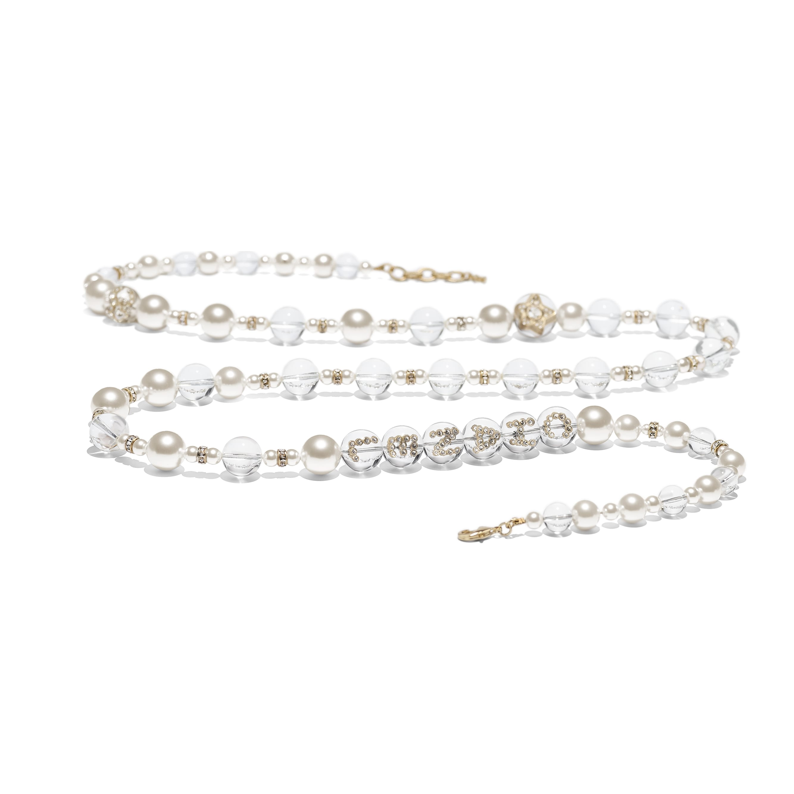 Long Necklace - Gold, Pearly White, Crystal & Transparent - Metal, Glass Pearls, Imitation Pearls & Diamanté - Alternative view - see standard sized version