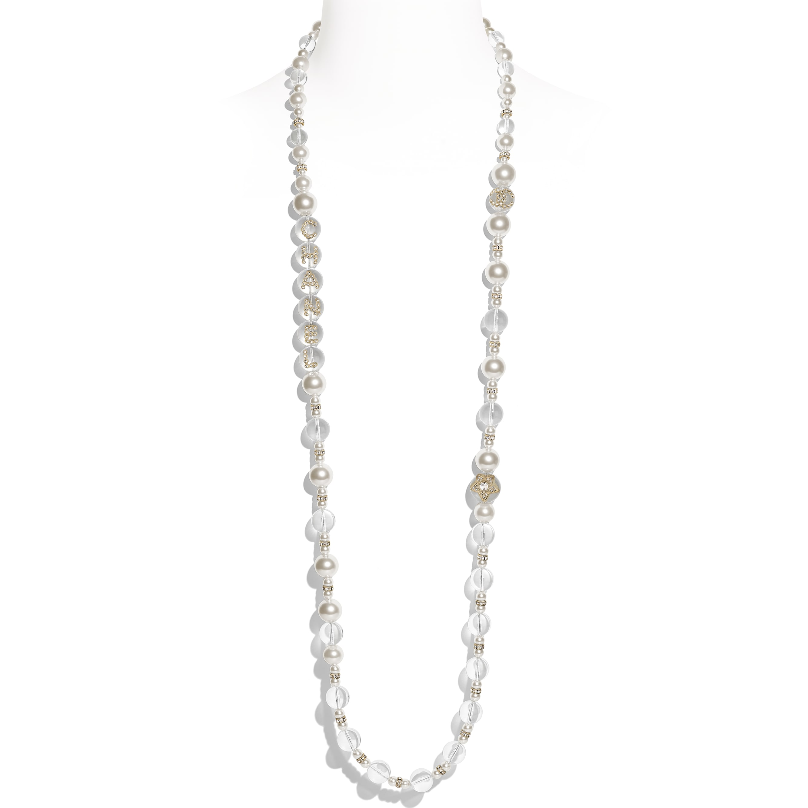 Long Necklace - Gold, Pearly White, Crystal & Transparent - Metal, Glass Pearls, Imitation Pearls & Diamanté - Default view - see standard sized version