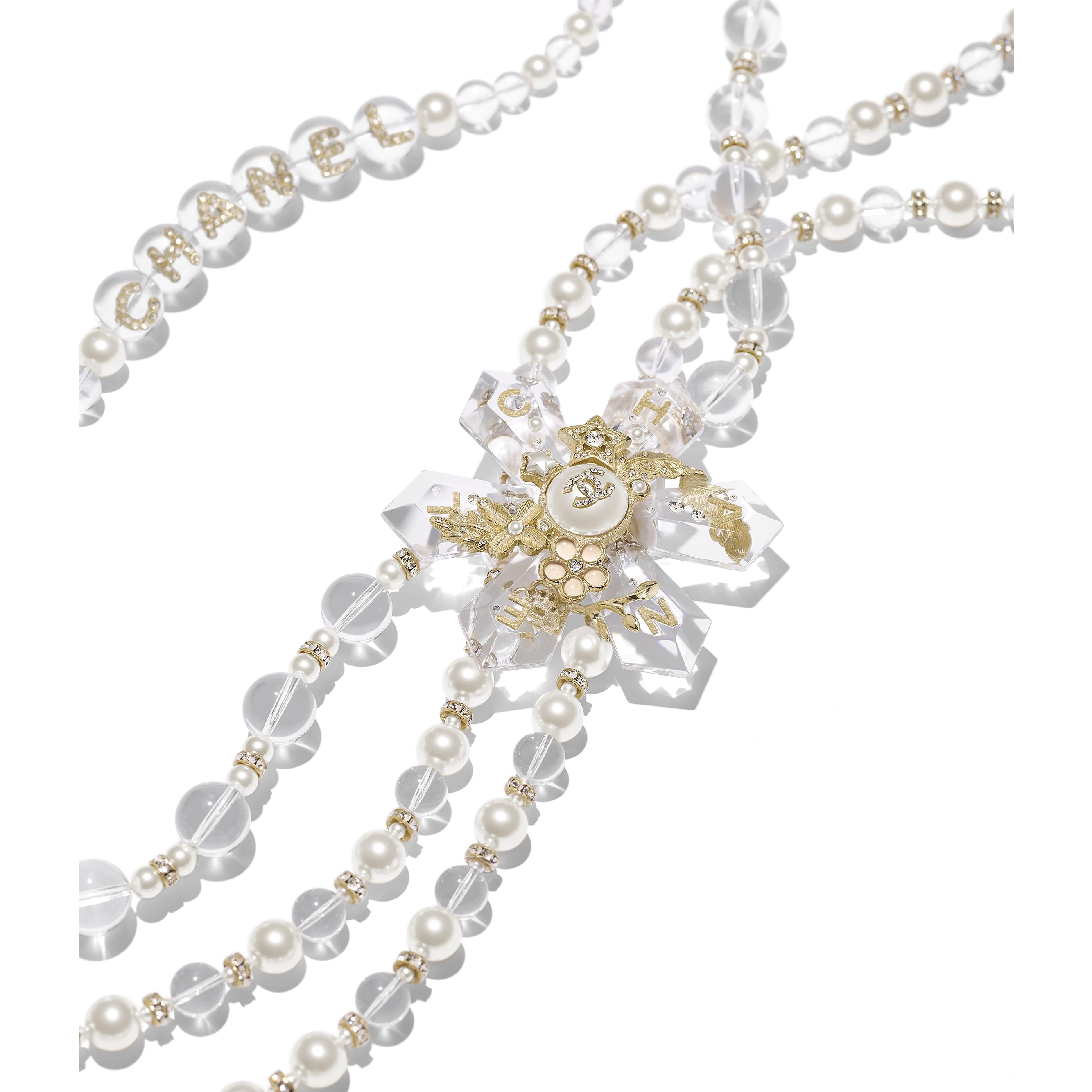 Long Necklace - Gold, Pearly White, Crystal & Transparent - Metal, Glass Pearls, Imitation Pearls, Diamanté & Resin - Alternative view - see standard sized version