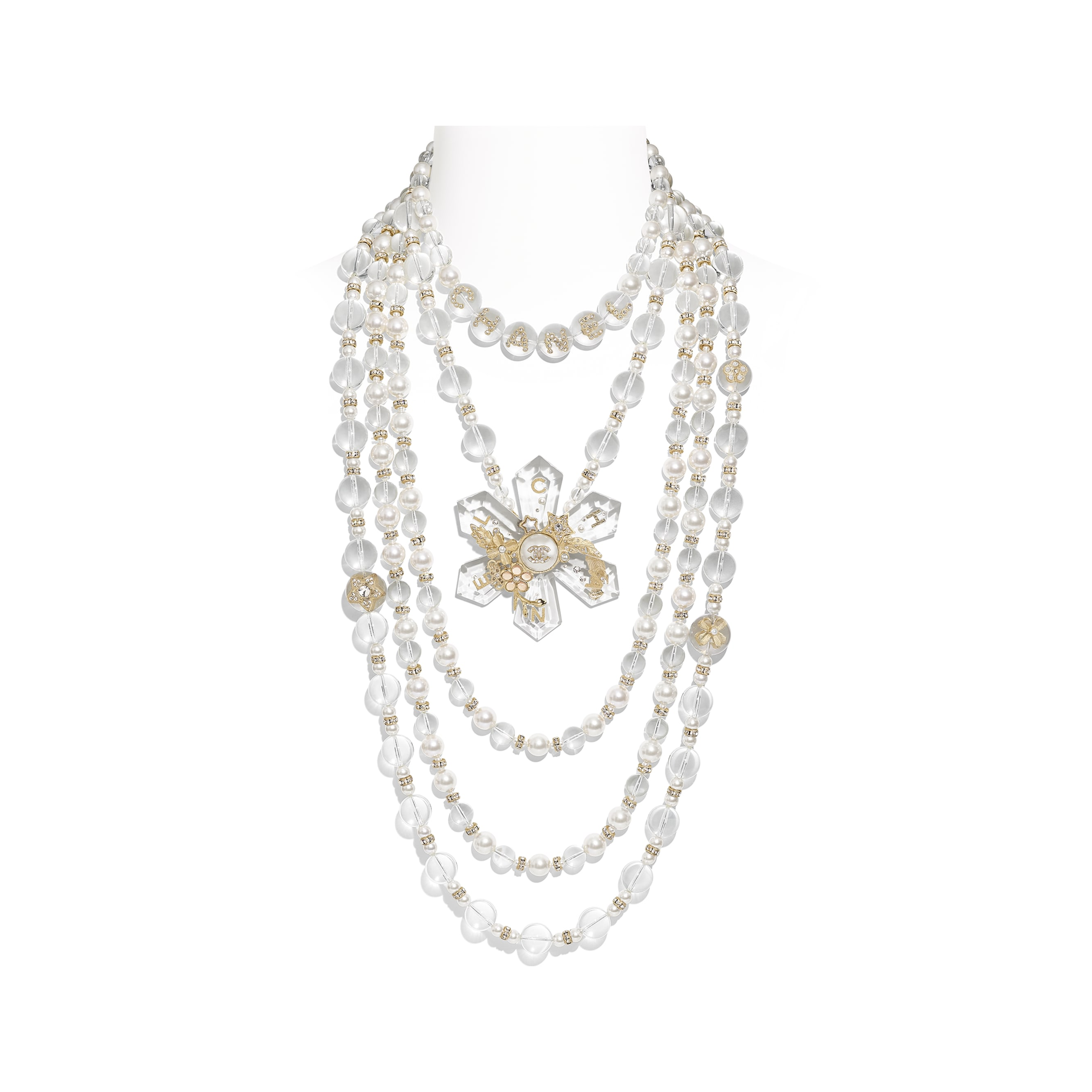 Long Necklace - Gold, Pearly White, Crystal & Transparent - Metal, Glass Pearls, Imitation Pearls, Diamanté & Resin - Default view - see standard sized version