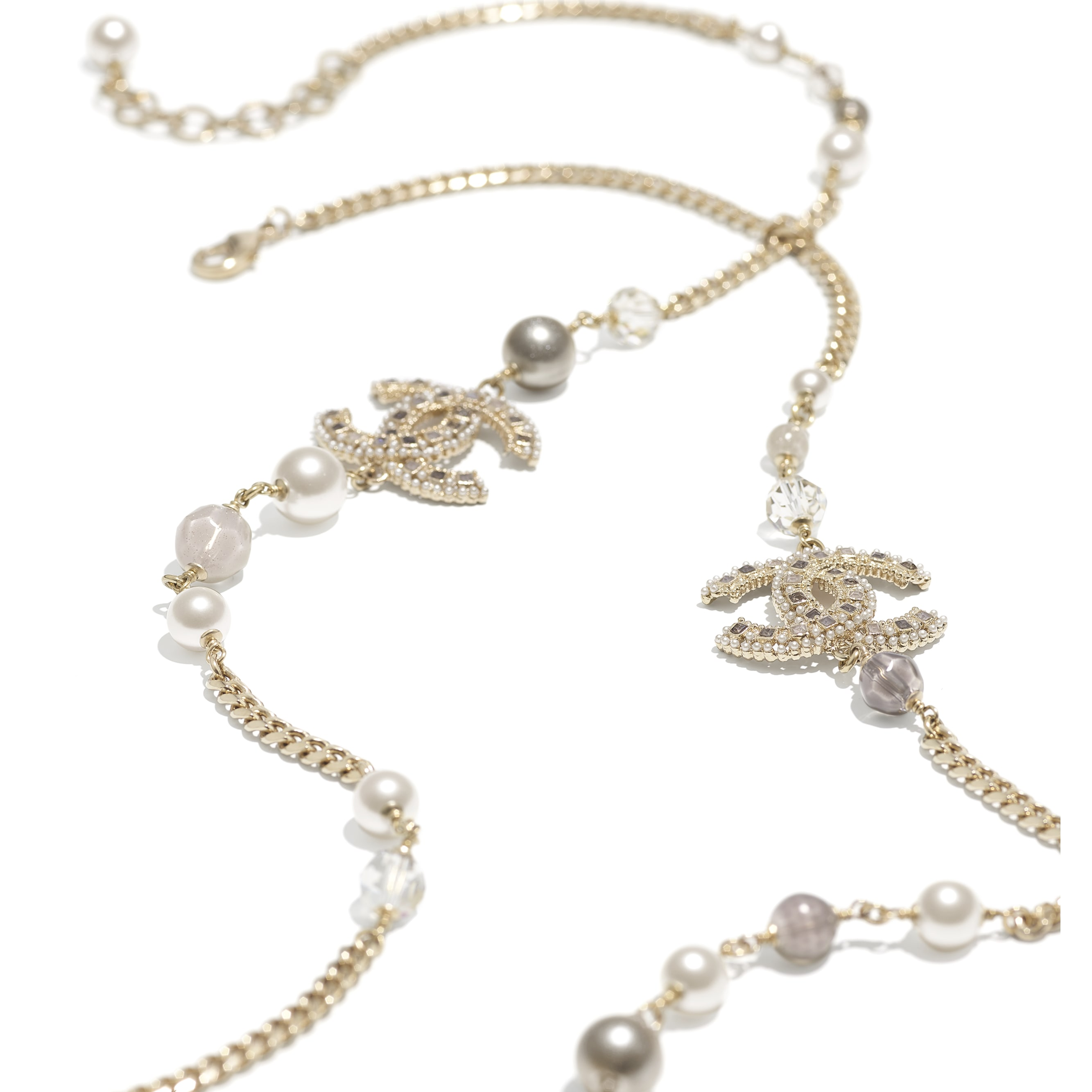 Long Necklace - Gold, Pearly White, Grey & Crystal - Metal, Glass Pearls, Glass & Strass - CHANEL - Alternative view - see standard sized version