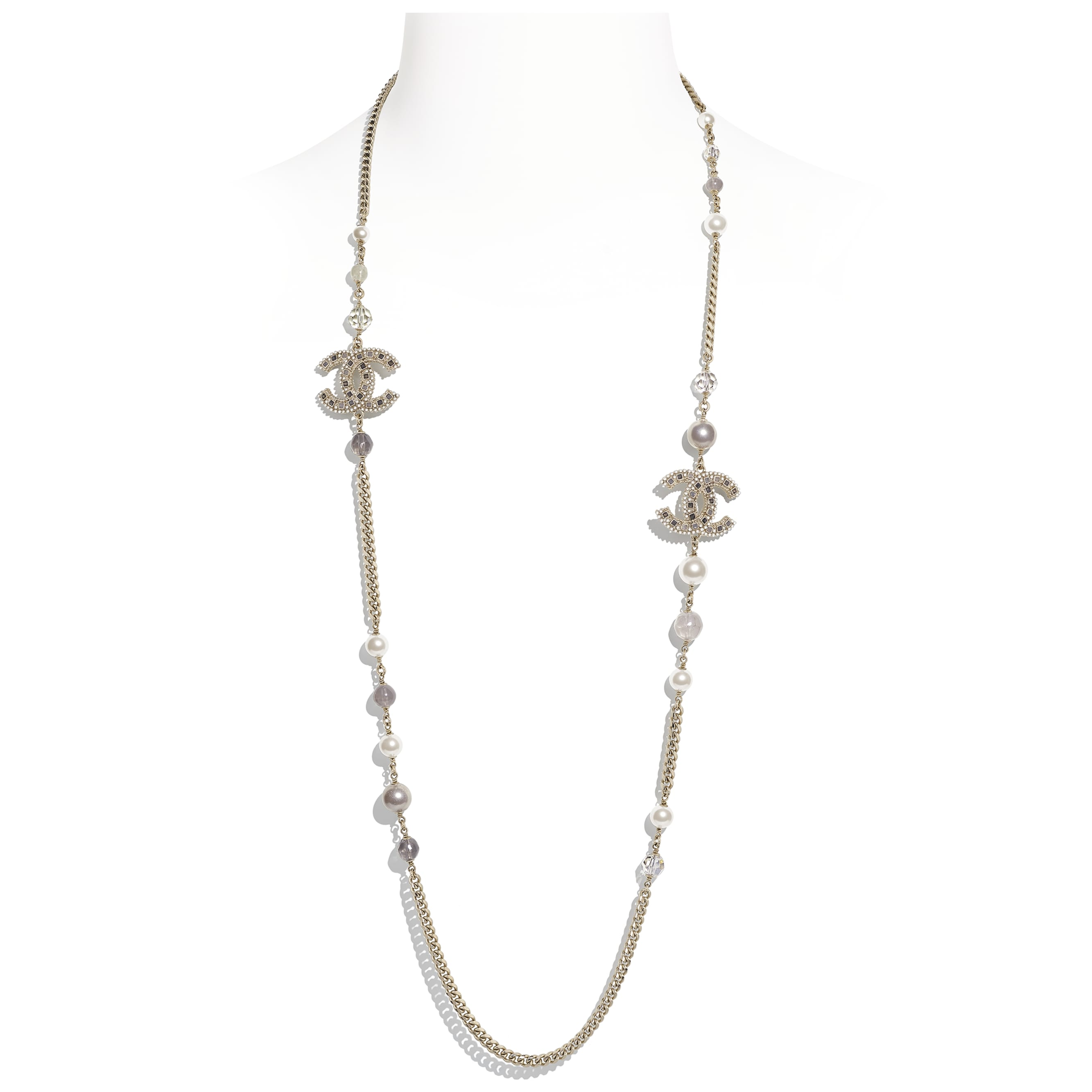 Long Necklace - Gold, Pearly White, Grey & Crystal - Metal, Glass Pearls, Glass & Strass - CHANEL - Default view - see standard sized version