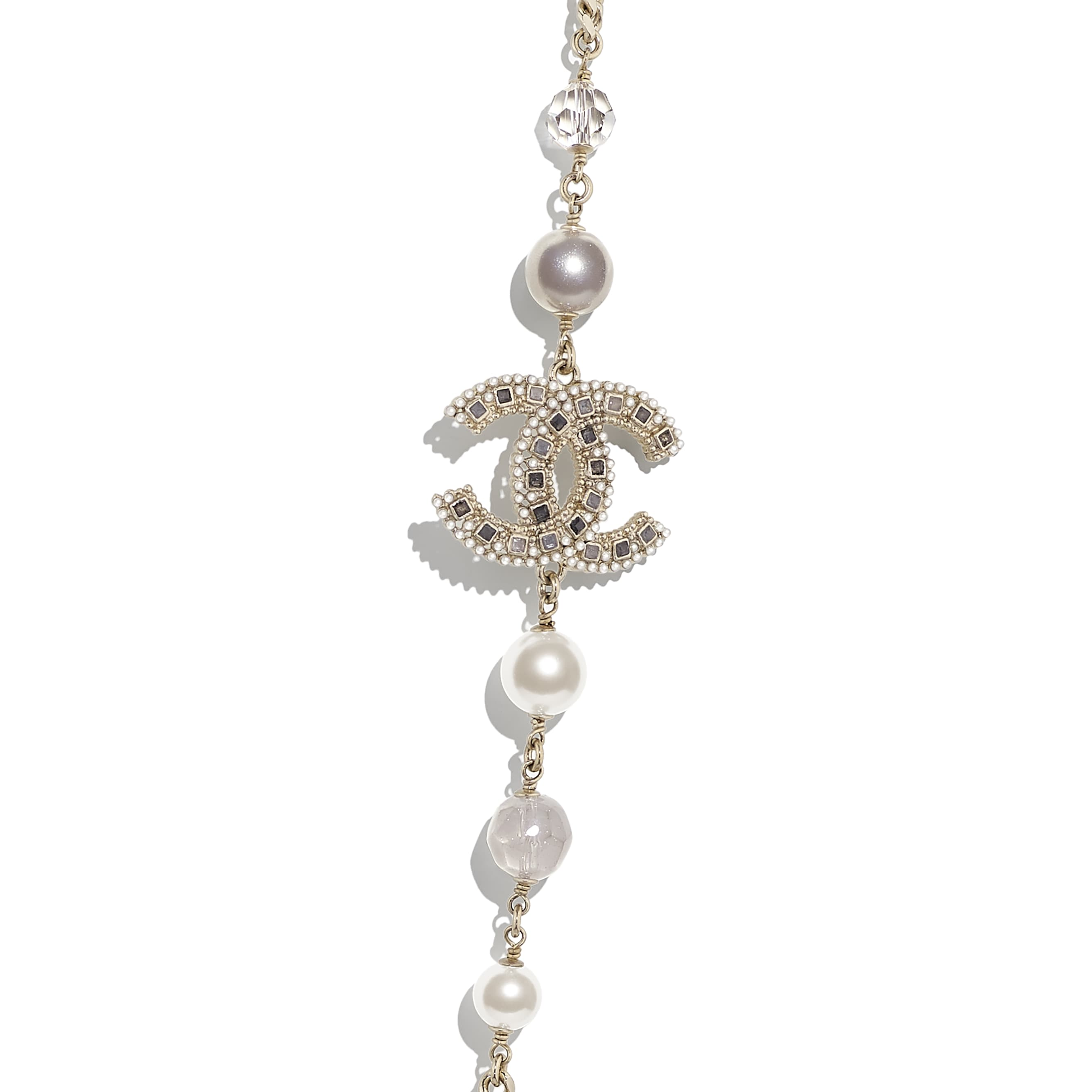 Long Necklace - Gold, Pearly White, Grey & Crystal - Metal, Glass Pearls, Glass & Strass - CHANEL - Other view - see standard sized version
