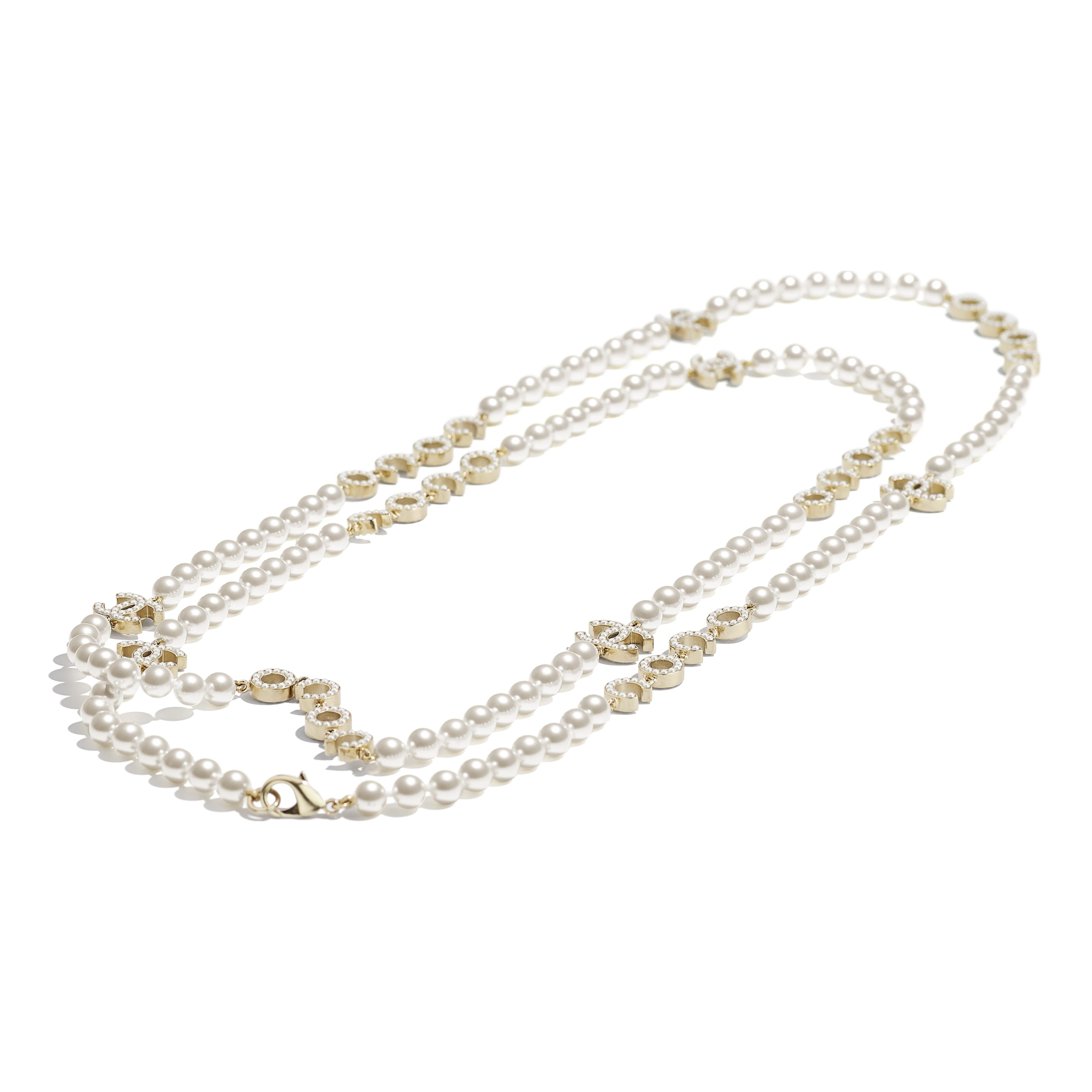 Long Necklace - Gold & Pearly White - Metal & Glass Pearls - CHANEL - Alternative view - see standard sized version