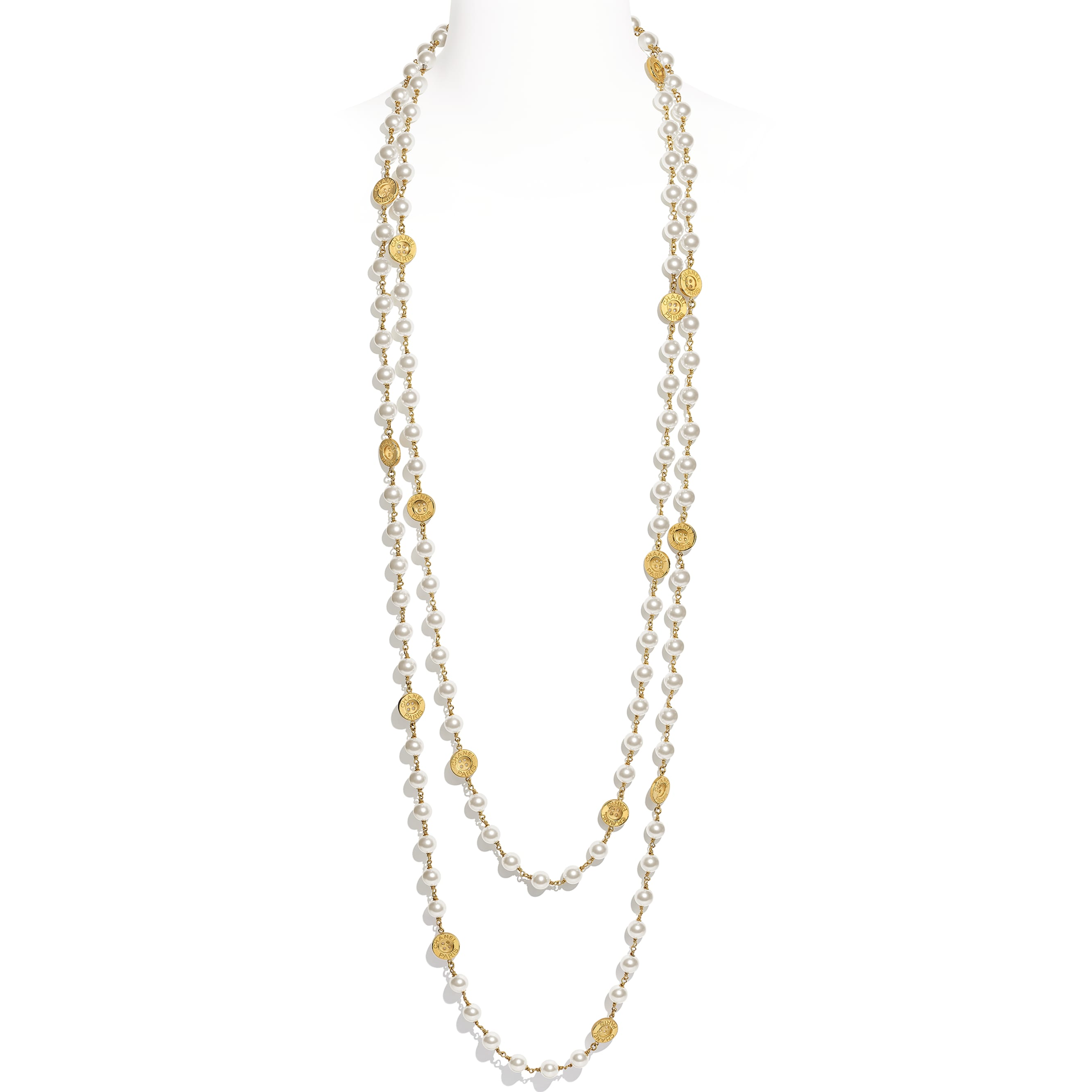 Long Necklace - Gold & Pearly White - Metal & Glass Pearls - CHANEL - Default view - see standard sized version