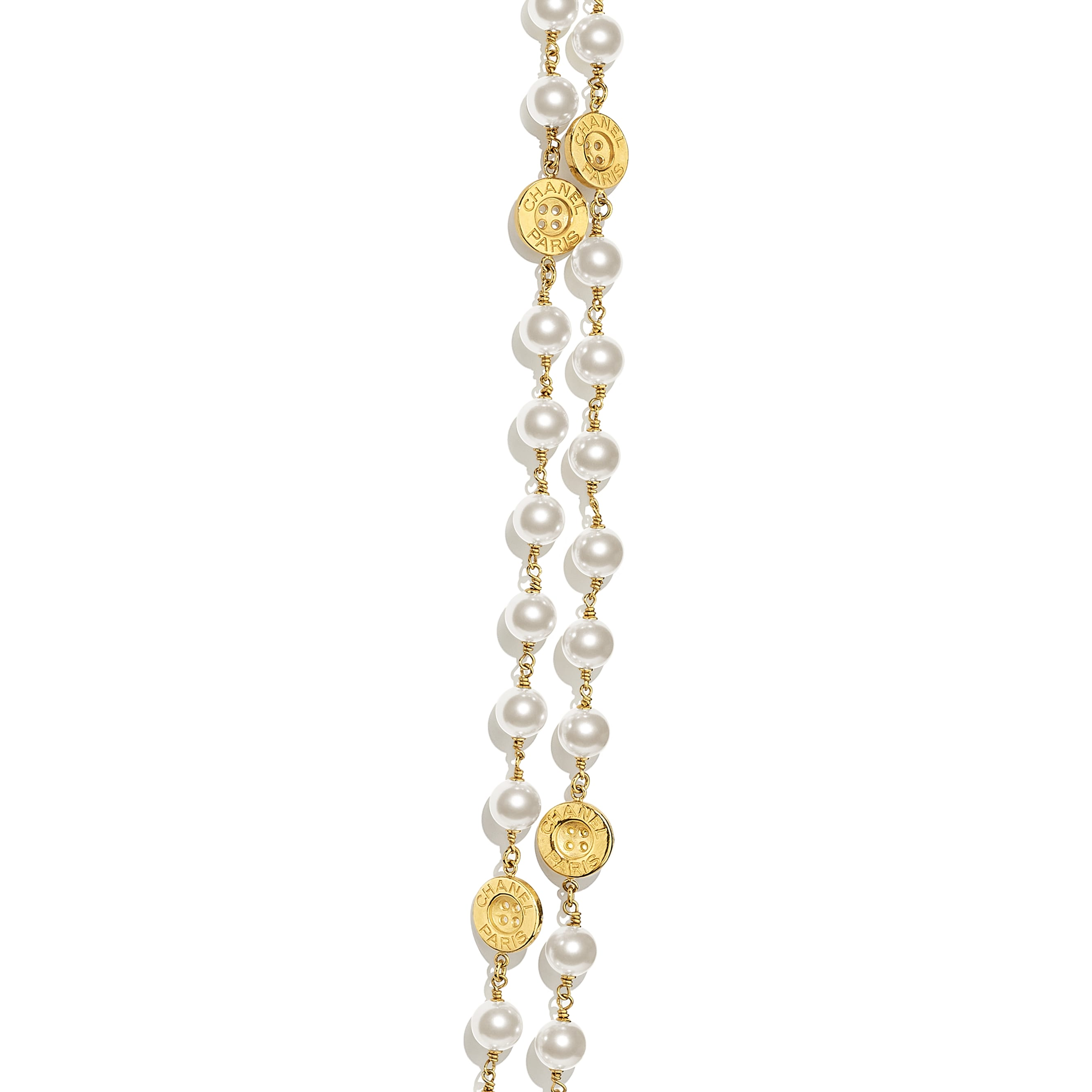 Long Necklace - Gold & Pearly White - Metal & Glass Pearls - CHANEL - Other view - see standard sized version