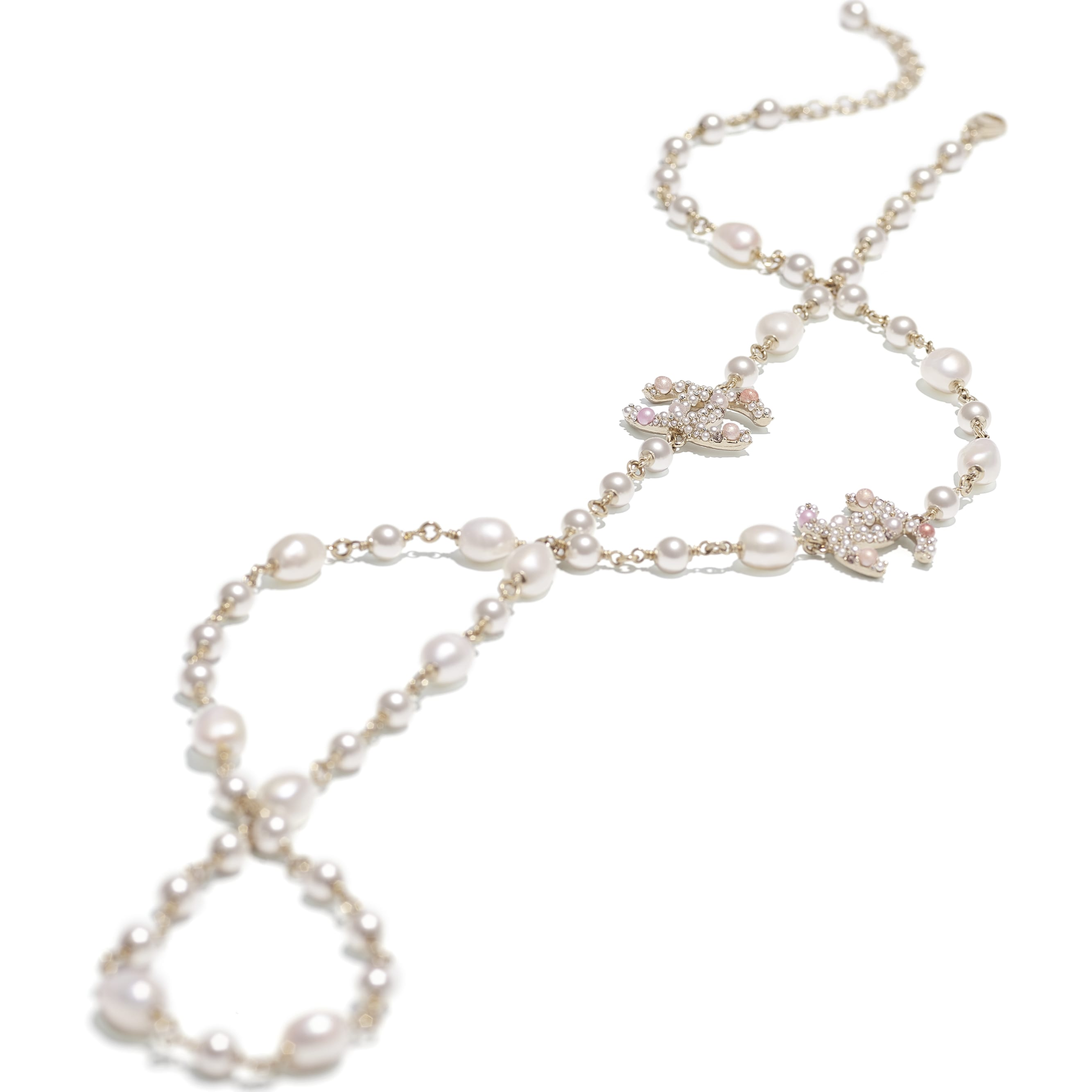 Long Necklace - Gold, Pearly White, Pink & Crystal - Metal, Cultured Freshwater Pearls, Glass Pearls & Strass - CHANEL - Alternative view - see standard sized version