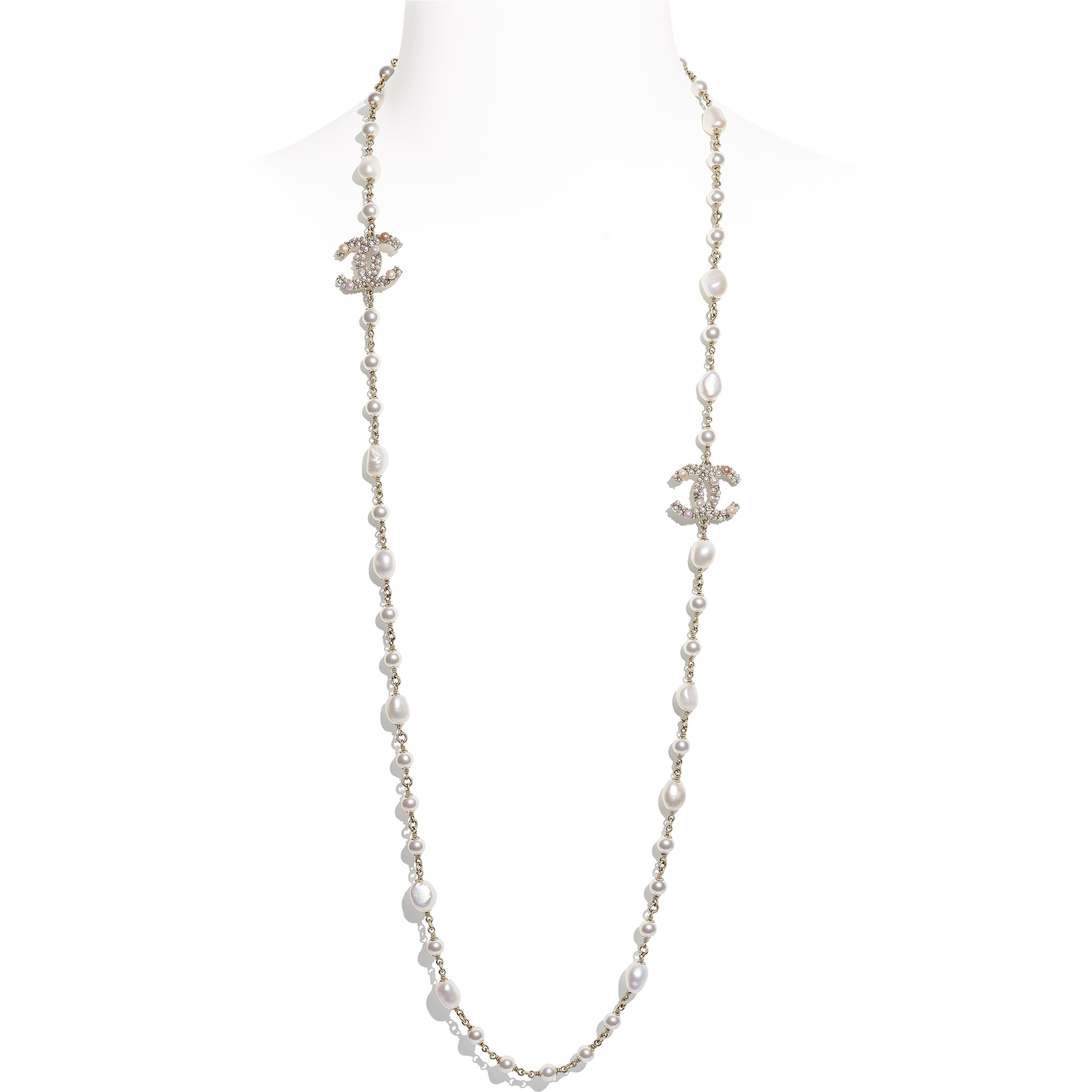Long Necklace - Gold, Pearly White, Pink & Crystal - Metal, Cultured Freshwater Pearls, Glass Pearls & Strass - CHANEL - Default view - see standard sized version