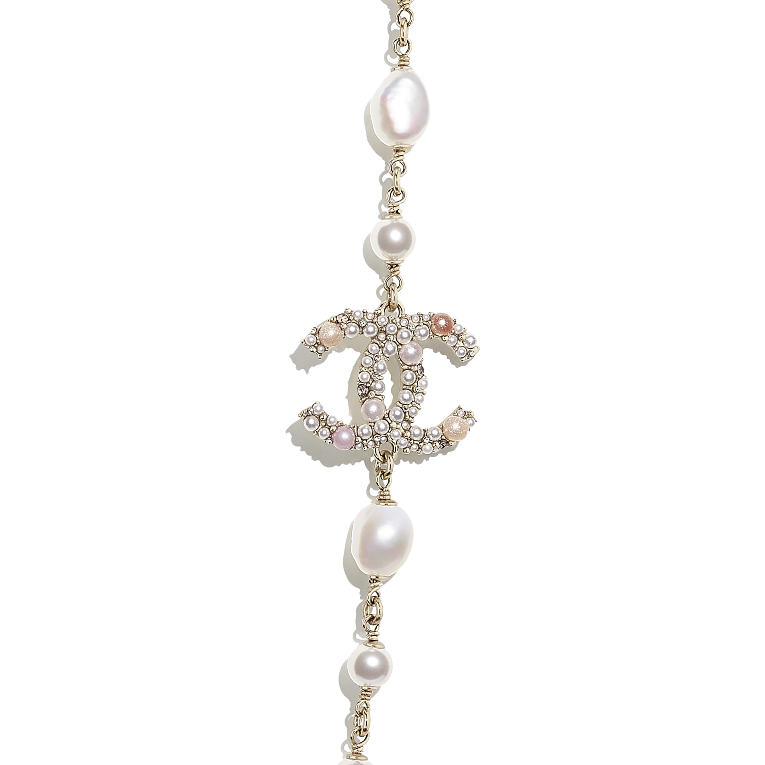 Long Necklace - Gold, Pearly White, Pink & Crystal - Metal, Cultured Freshwater Pearls, Glass Pearls & Strass - CHANEL - Other view - see standard sized version