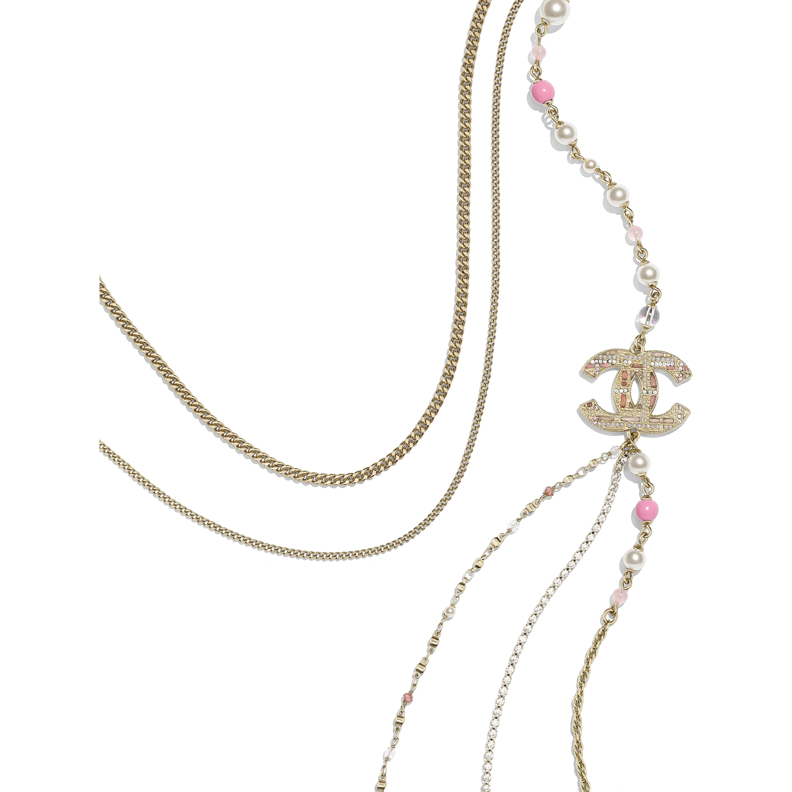 Длинное колье - Золотистый, жемчужно-белый и розовый - металл, жемчуг, стразы и смола - Альтернативный вид - посмотреть изображение стандартного размера