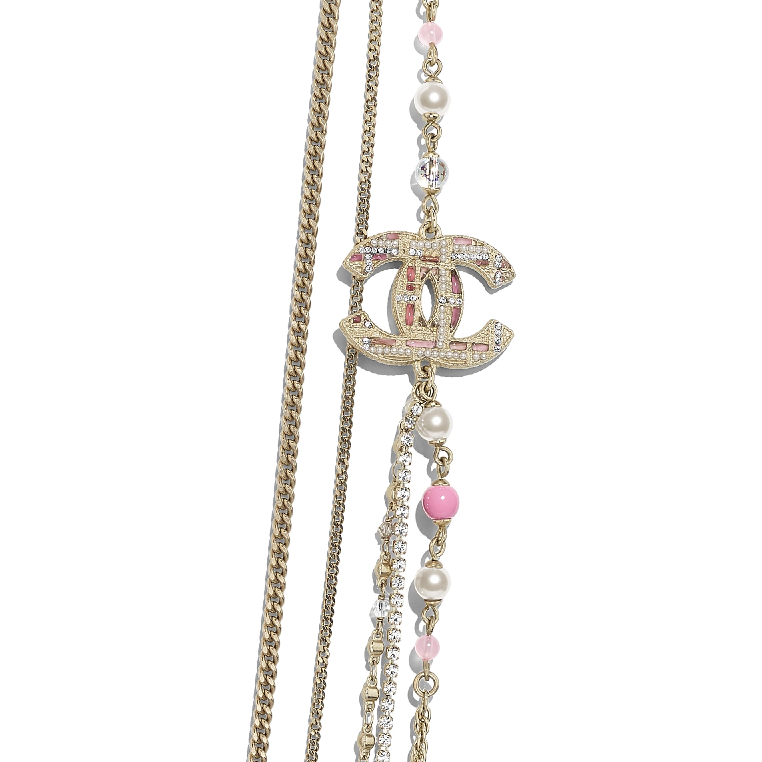 Длинное колье - Золотистый, жемчужно-белый и розовый - металл, жемчуг, стразы и смола - Другое изображение - посмотреть изображение стандартного размера