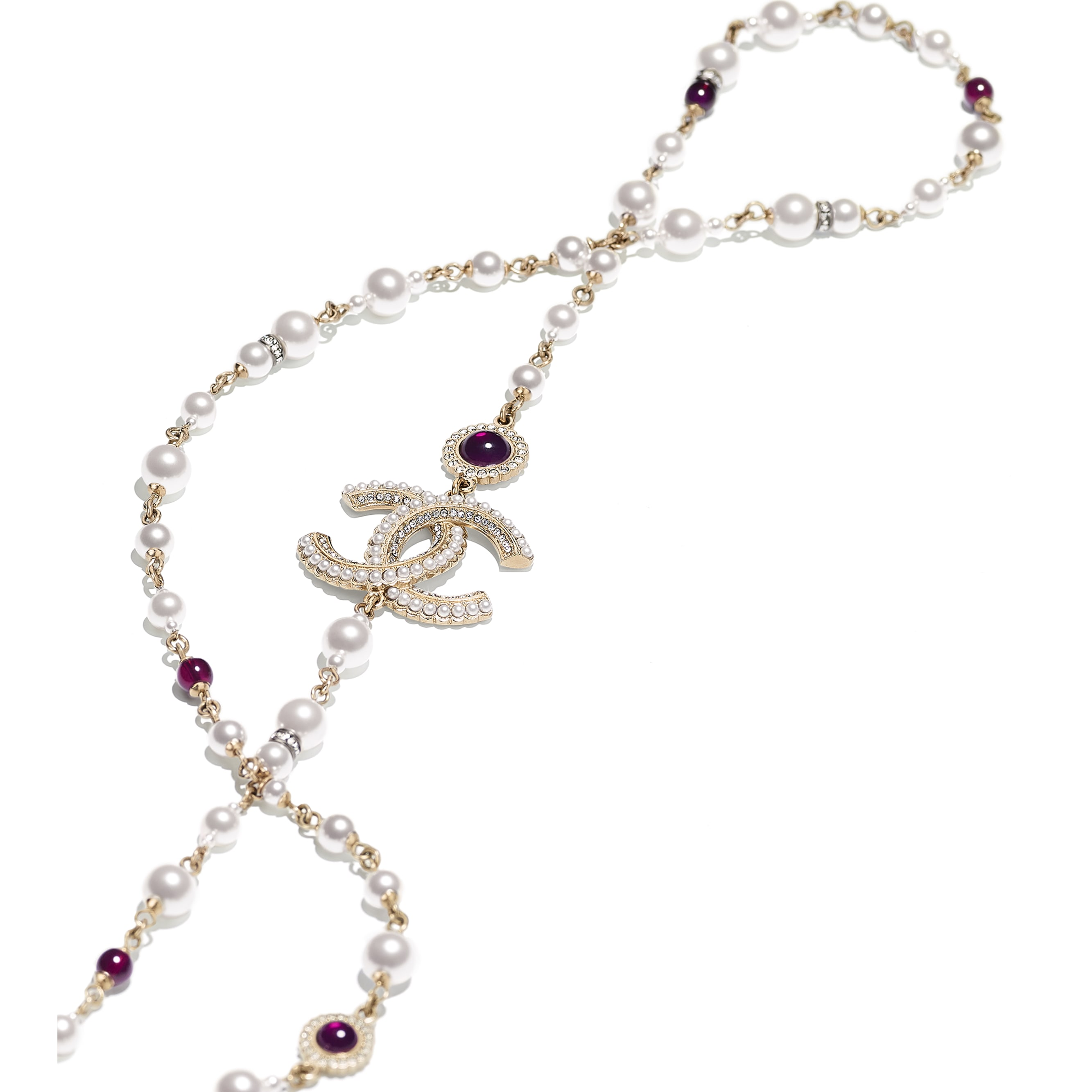 Long Necklace - Gold, Pearly White, Red & Crystal - Metal, Glass Pearls & Diamantés - Alternative view - see standard sized version
