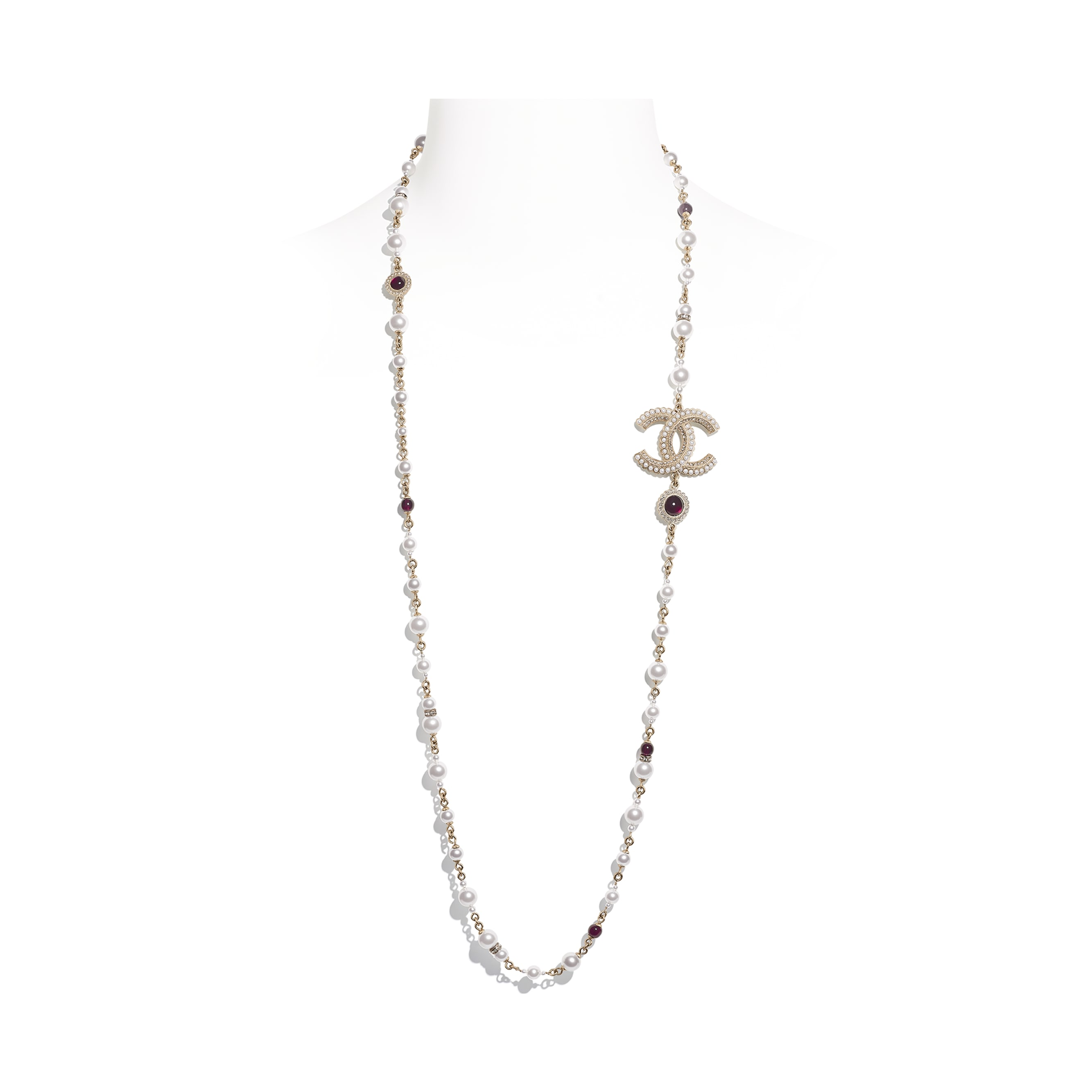 Long Necklace - Gold, Pearly White, Red & Crystal - Metal, Glass Pearls & Diamantés - Default view - see standard sized version