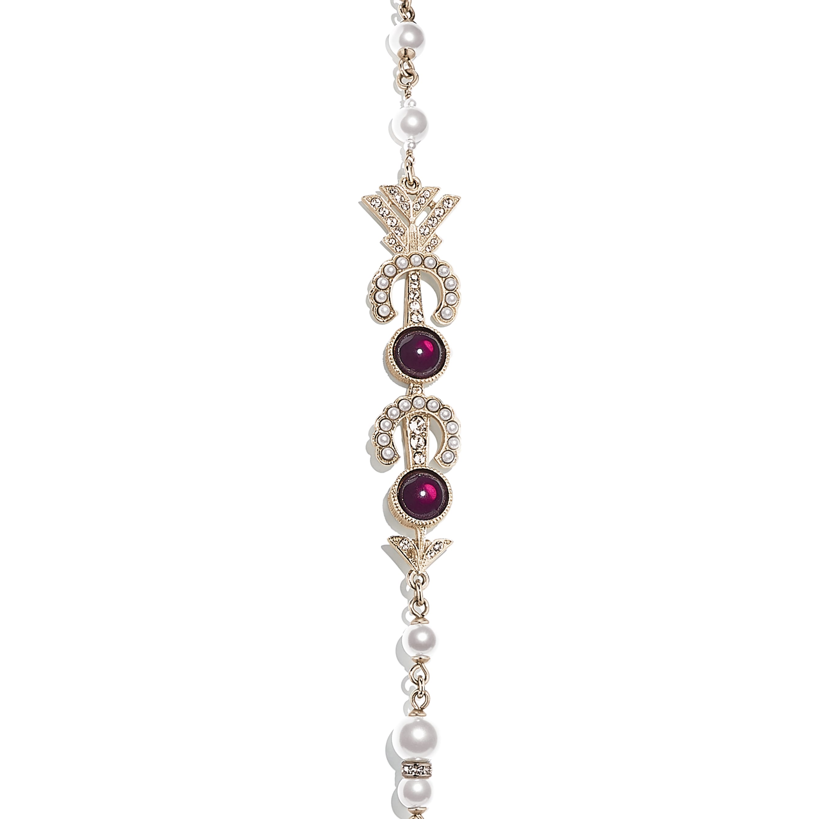 Long Necklace - Gold, Pearly White, Red & Crystal - Metal, Glass Pearls & Strass - CHANEL - Other view - see standard sized version