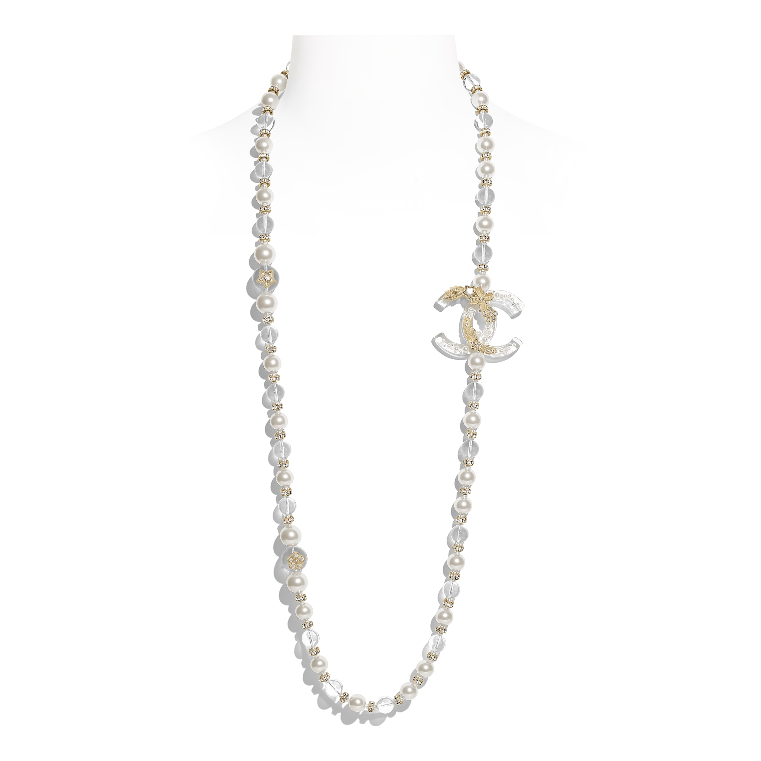 Long Necklace - Gold, Pearly White, Transparent & Crystal - Metal, Glass Pearls, Imitation Pearls, Diamanté & Resin - Default view - see standard sized version