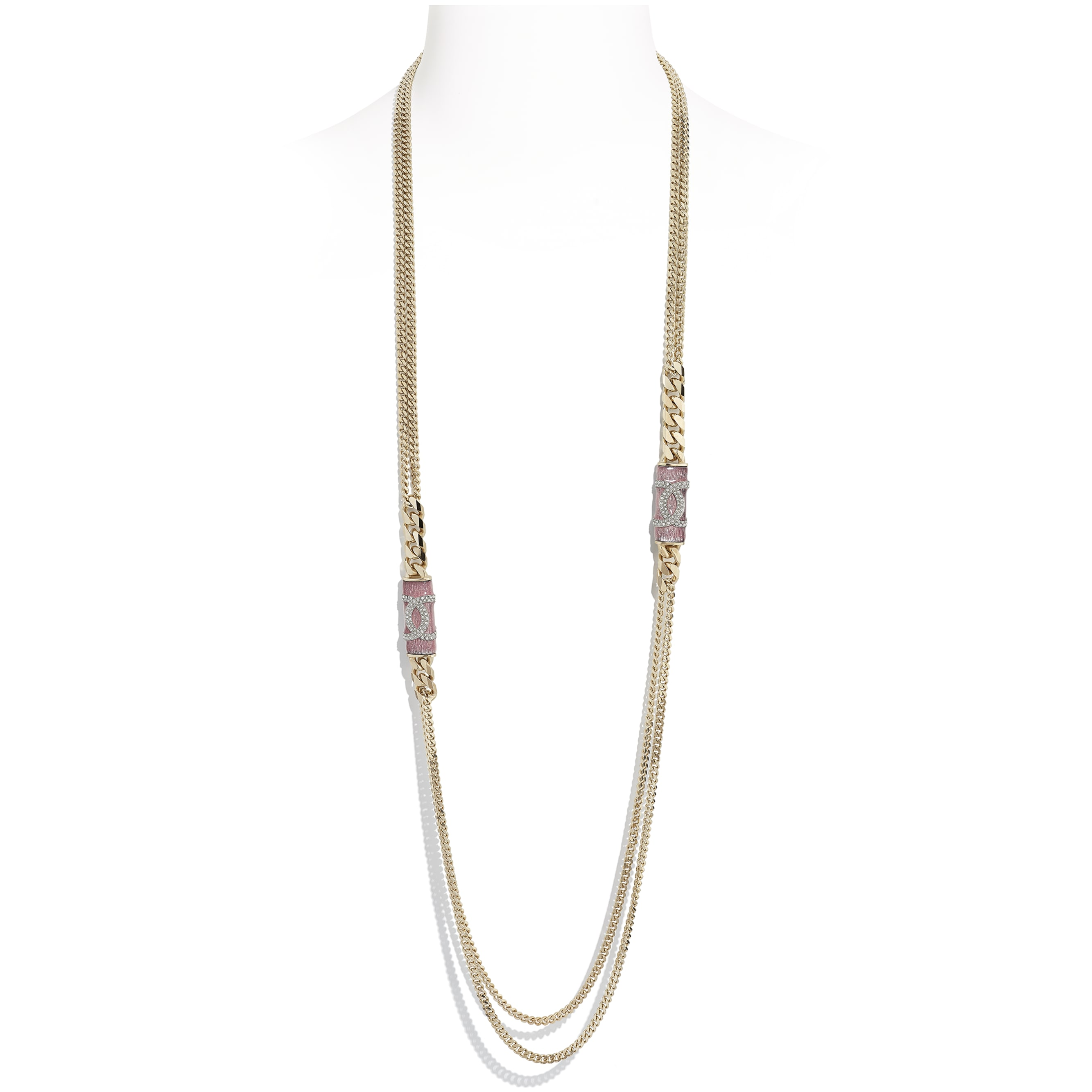 Long Necklace - Gold, Pink & Crystal - Metal & Diamantés - CHANEL - Default view - see standard sized version