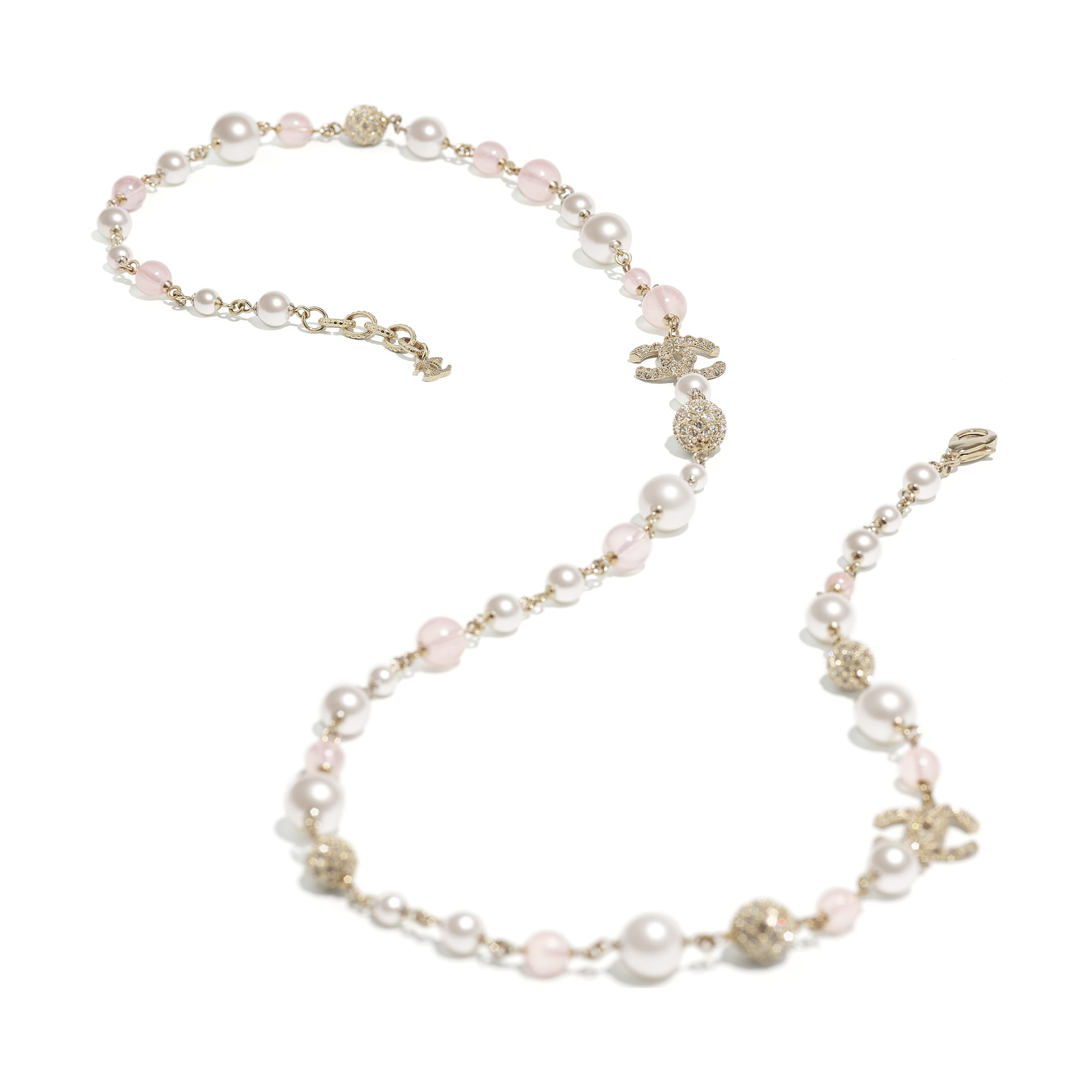 Long Necklace - Gold, Pink & Pearly White - Metal, Glass Pearls & Diamantés - CHANEL - Alternative view - see standard sized version