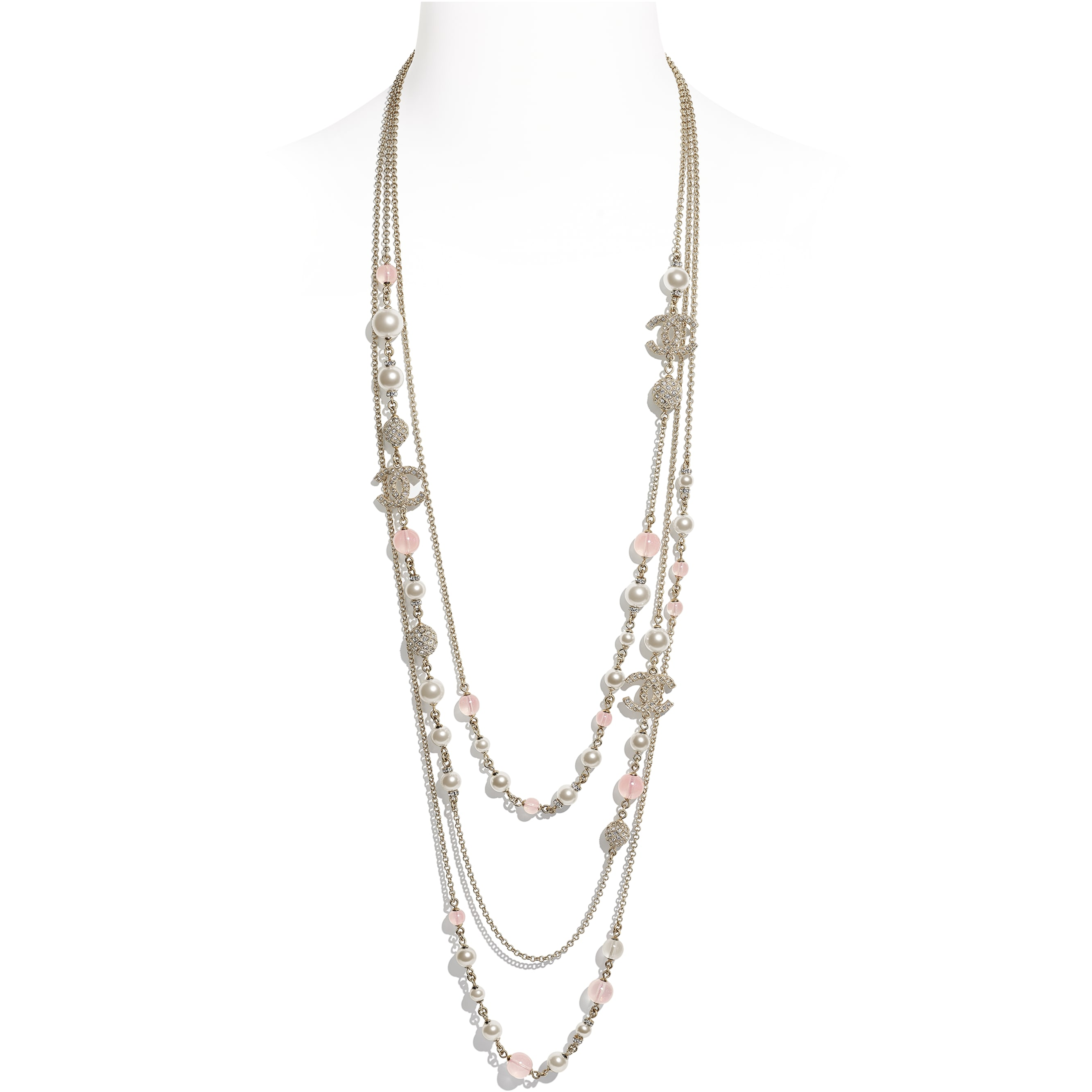 Long Necklace - Gold, Pink & Pearly White - Metal, Glass Pearls & Diamantés - CHANEL - Default view - see standard sized version