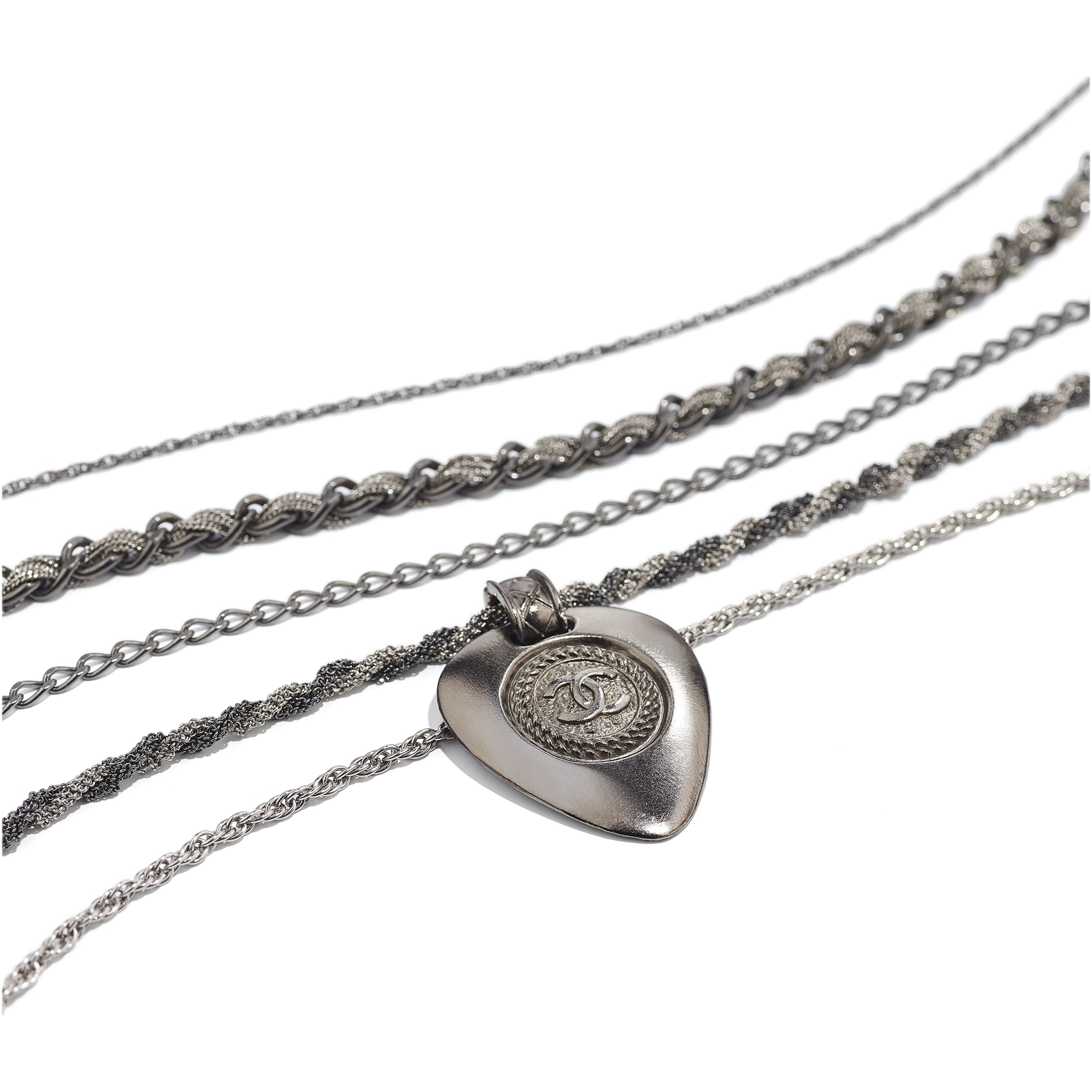 Long Necklace - Ruthenium & Silver - Metal - Alternative view - see standard sized version