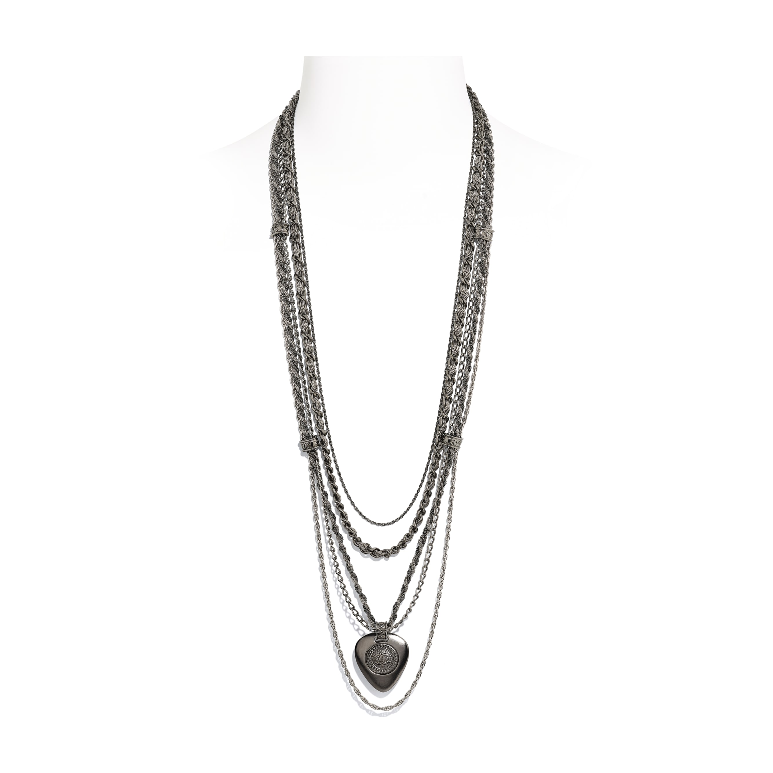 Long Necklace - Ruthenium & Silver - Metal - Default view - see standard sized version
