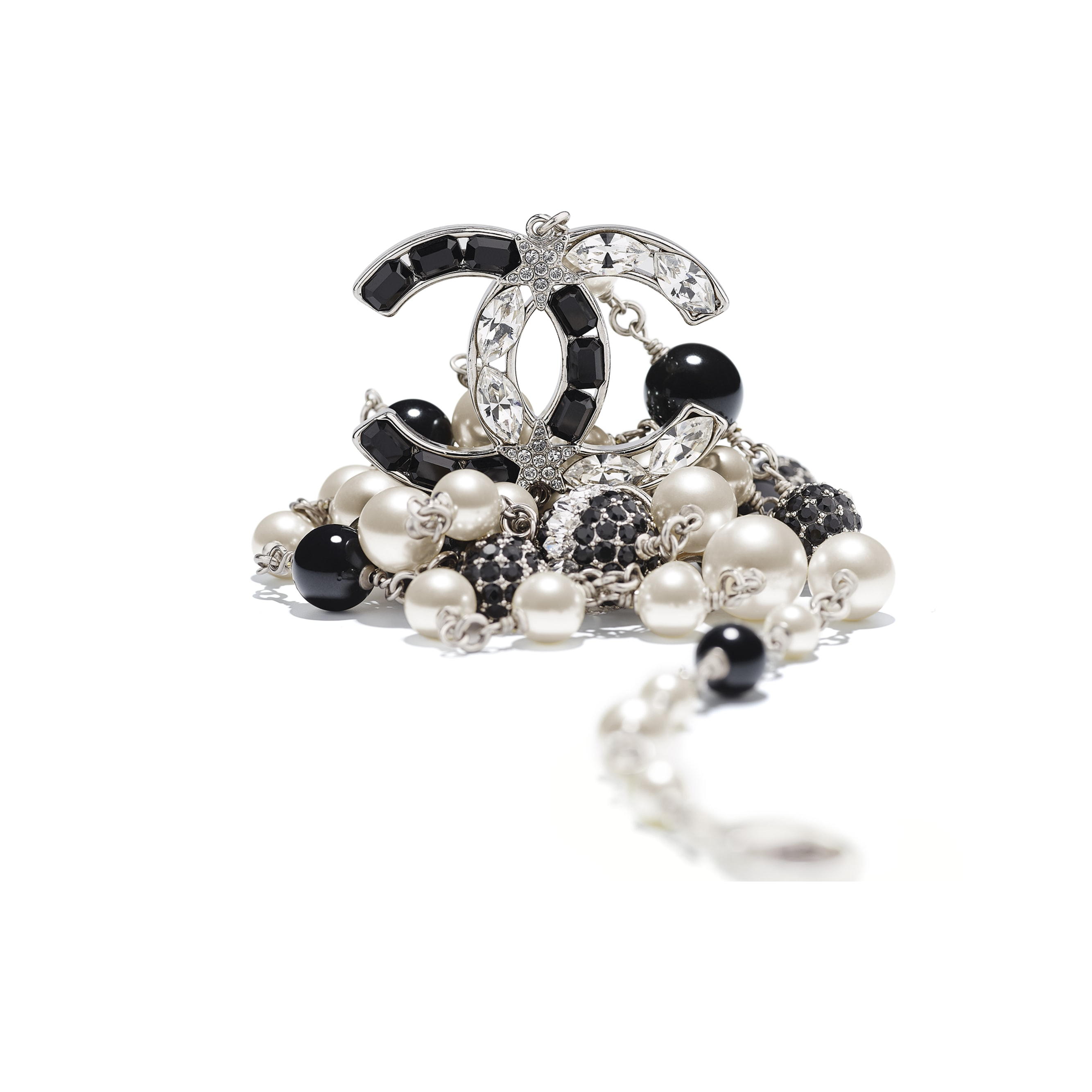 Long Necklace - Silver, Pearly White, Black & Crystal - Metal, Glass Pearls & Diamantés - Alternative view - see standard sized version
