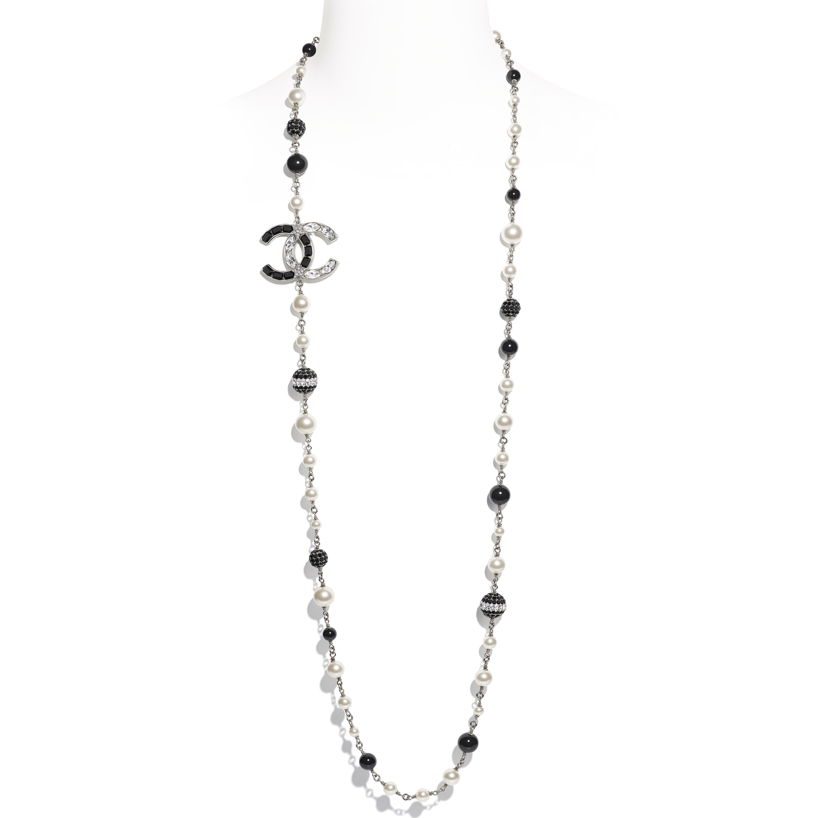 Long Necklace - Silver, Pearly White, Black & Crystal - Metal, Glass Pearls & Diamantés - Default view - see standard sized version