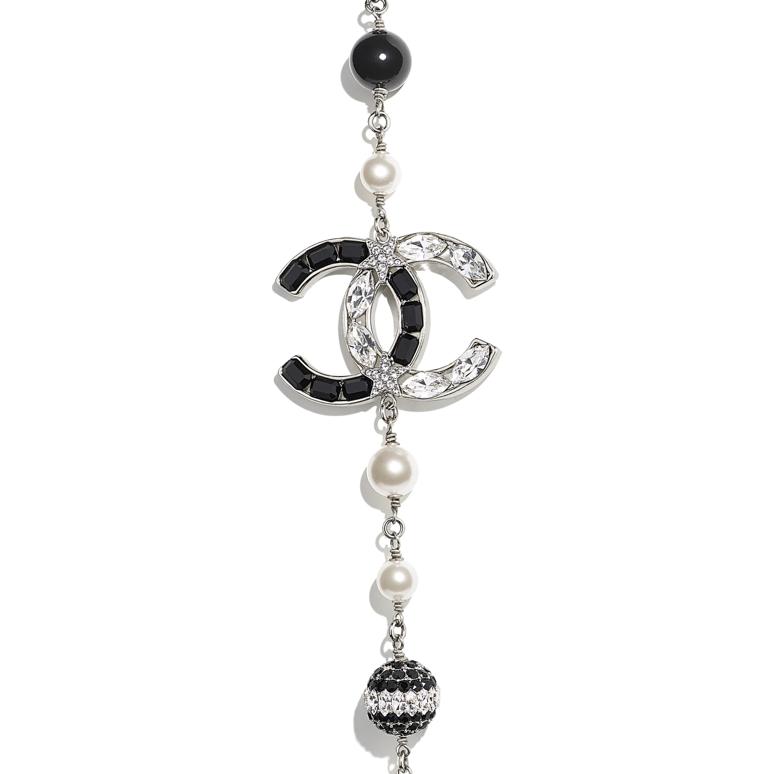 Long Necklace - Silver, Pearly White, Black & Crystal - Metal, Glass Pearls & Diamantés - Other view - see standard sized version