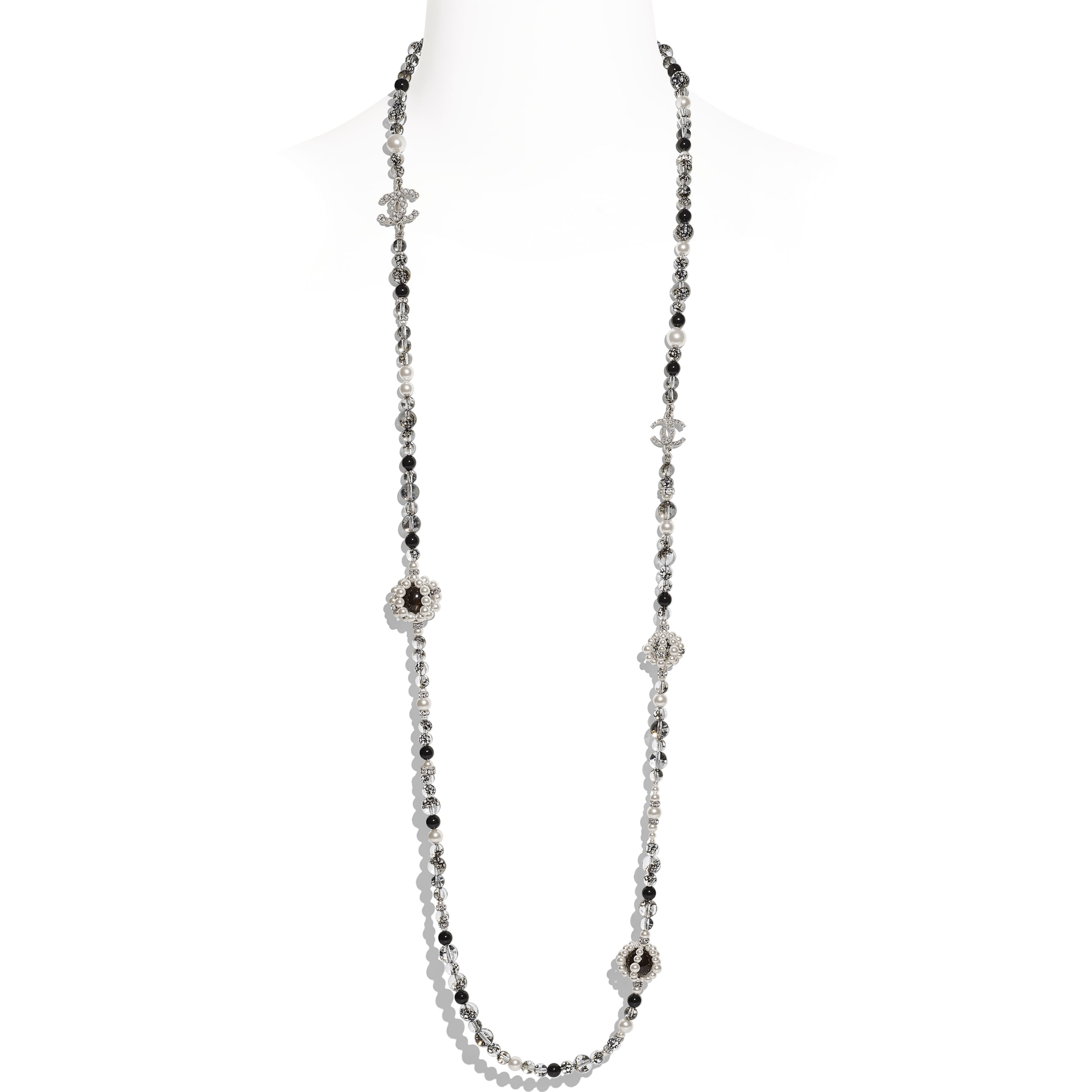 Long Necklace - Silver, Pearly White, Black & Crystal - Metal, Natural Stones, Glass Pearls & Strass - Default view - see standard sized version