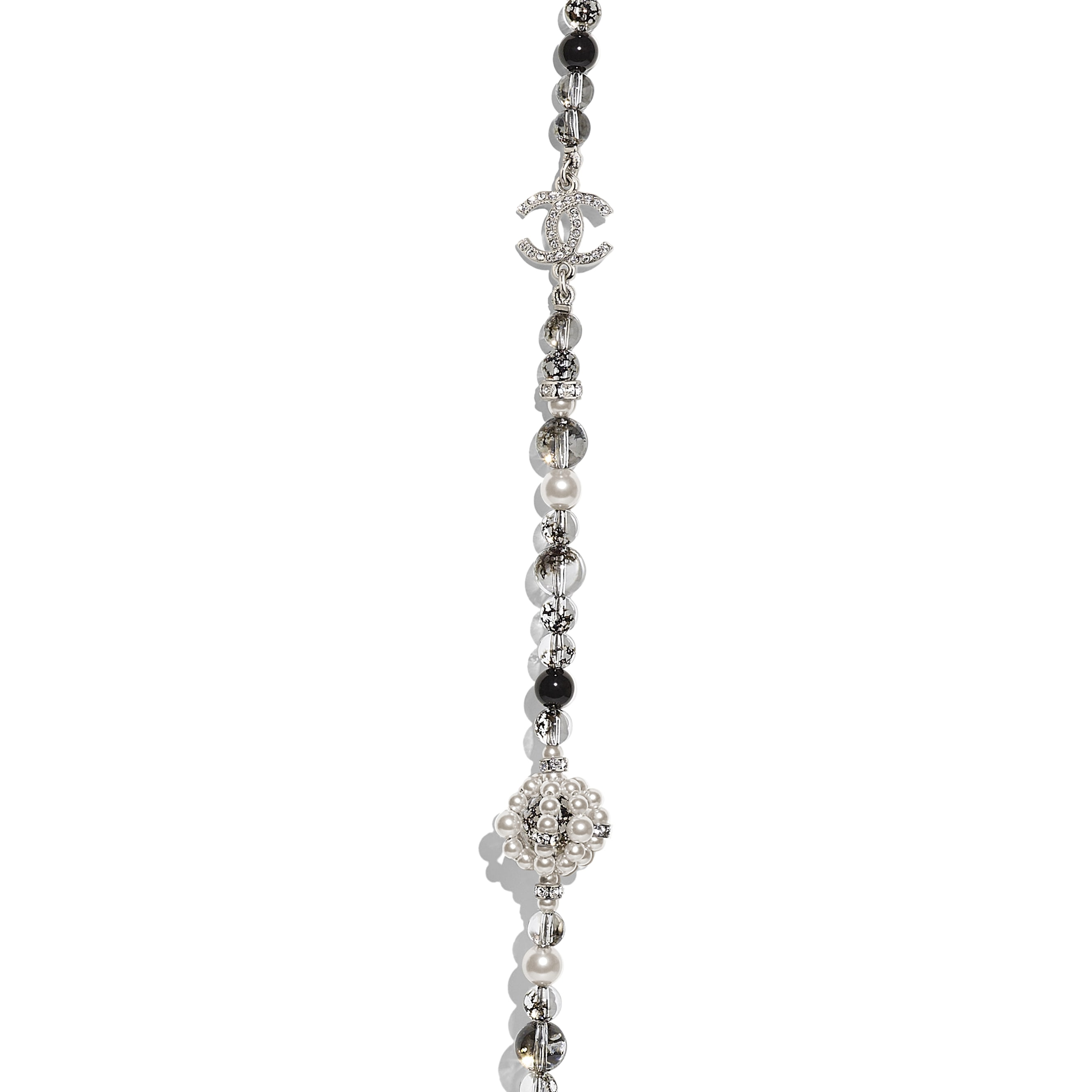 Long Necklace - Silver, Pearly White, Black & Crystal - Metal, Natural Stones, Glass Pearls & Strass - Other view - see standard sized version