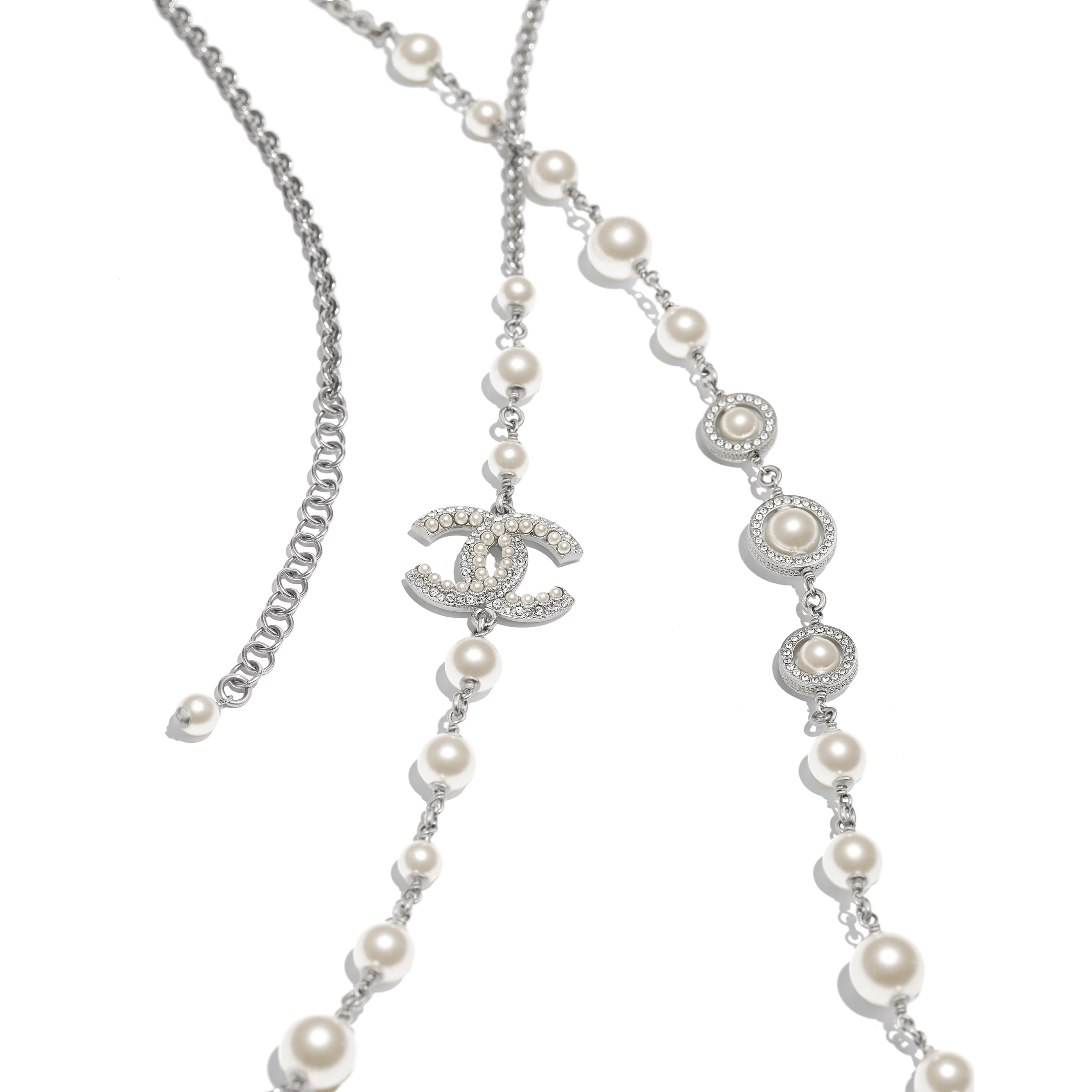 Long Necklace - Silver, Pearly White & Crystal - Metal, Glass Pearls & Diamantés - Alternative view - see standard sized version